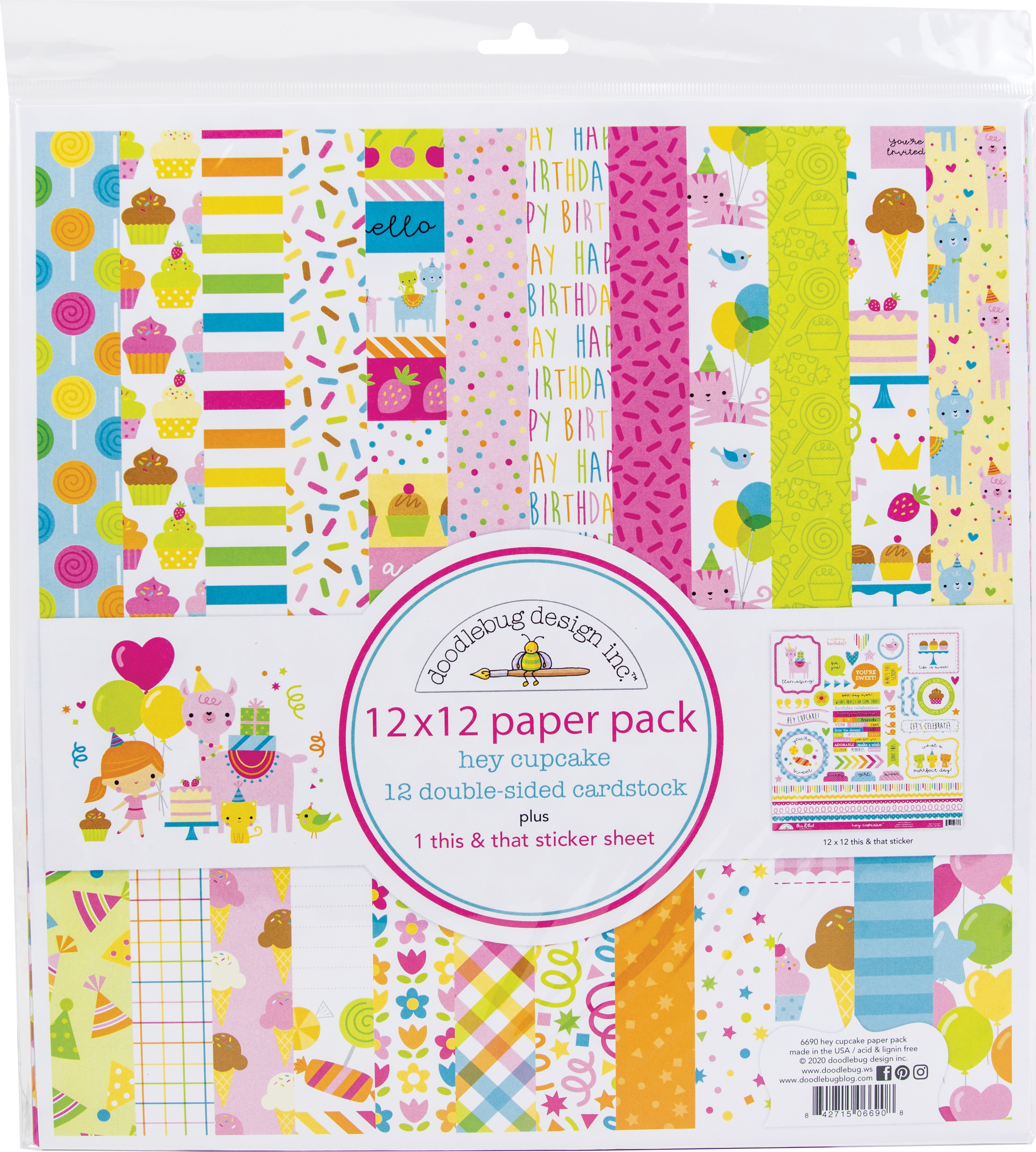 Doodlebug Double-Sided Paper Pack 12X12 12/Pkg-Hey Cupcake