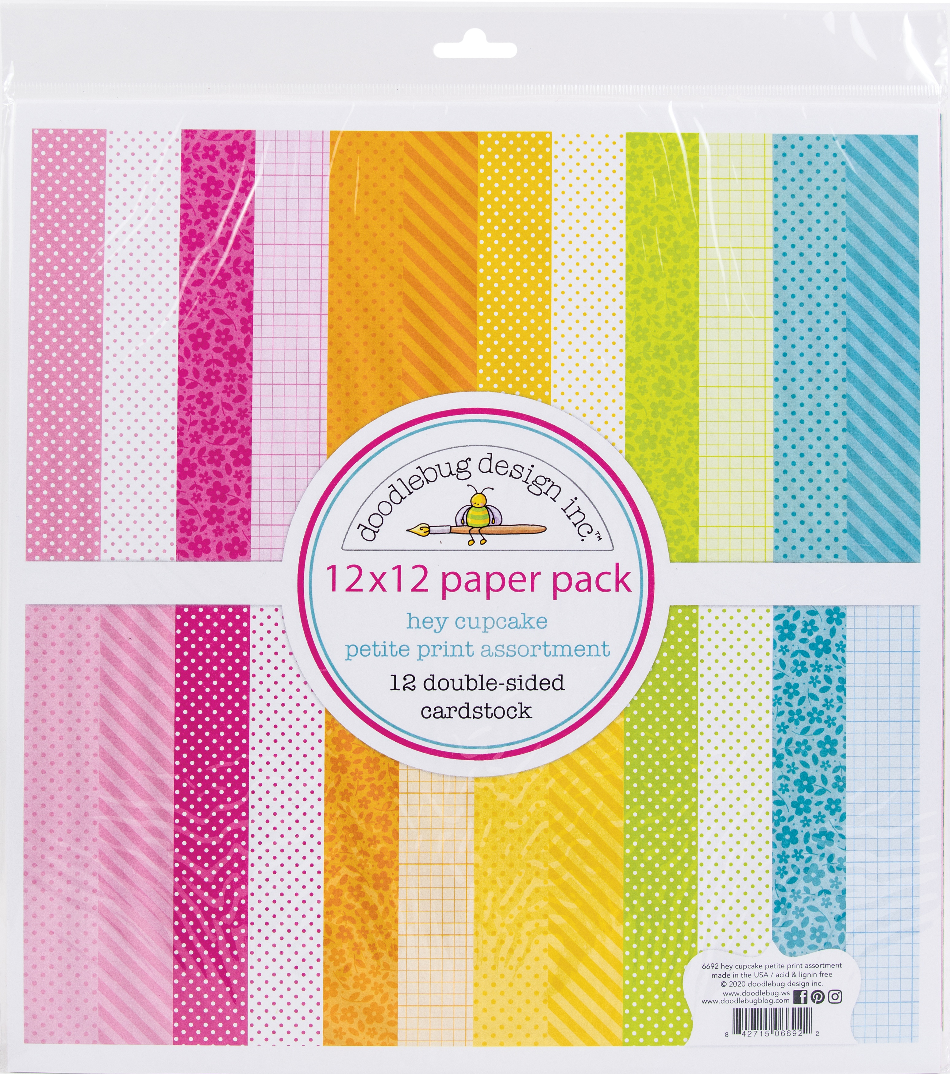 Doodlebug Petite Prints Double-Sided Cardstock 12X12 12/Pk-Hey Cupcake 12 Designs/1 Each
