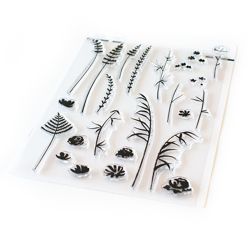 Pinkfresh Studio Clear Stamp Set 6X8-Wild Flower Sketches