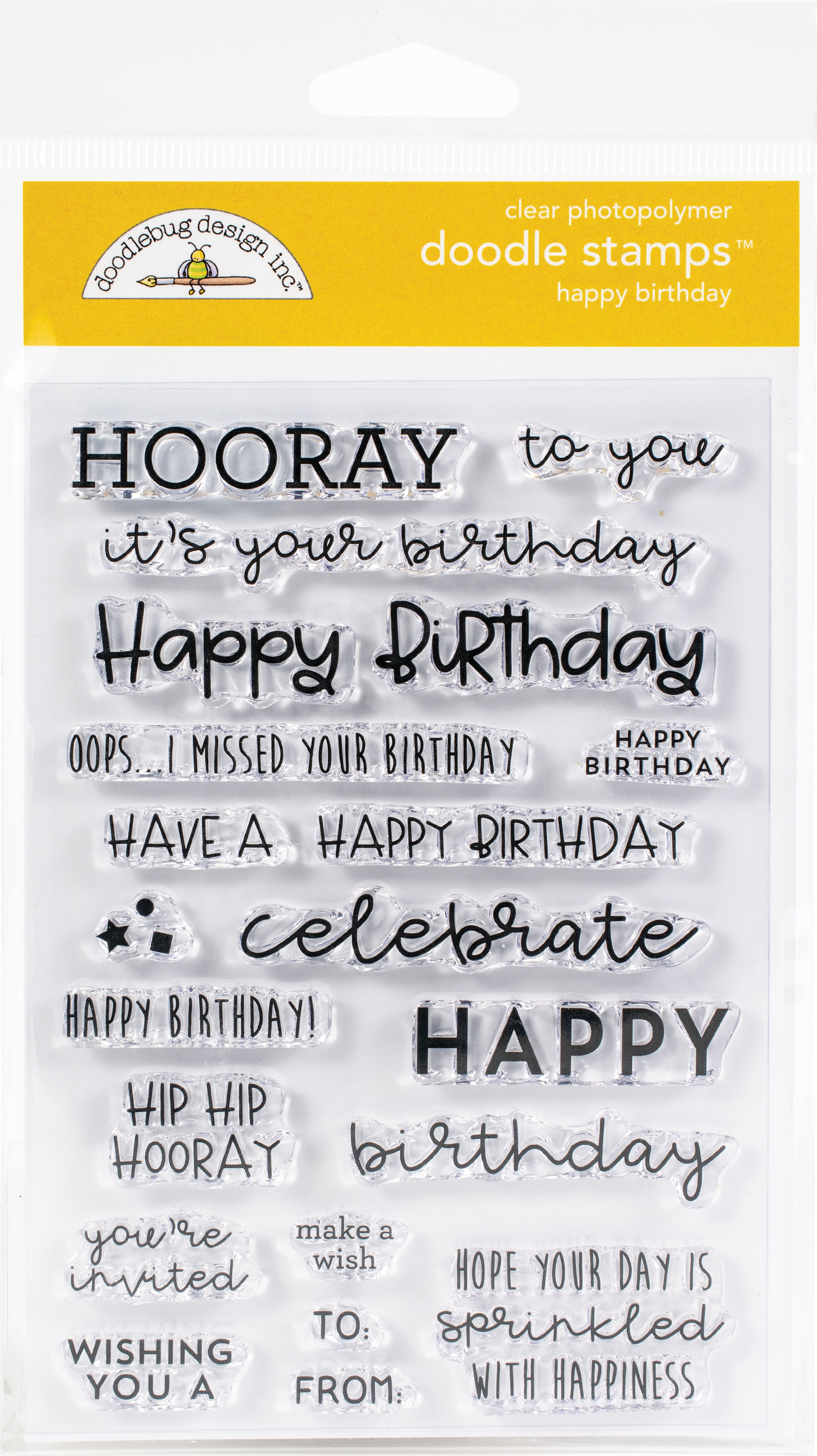 Doodlebug Clear Doodle Stamps-Happy Birthday