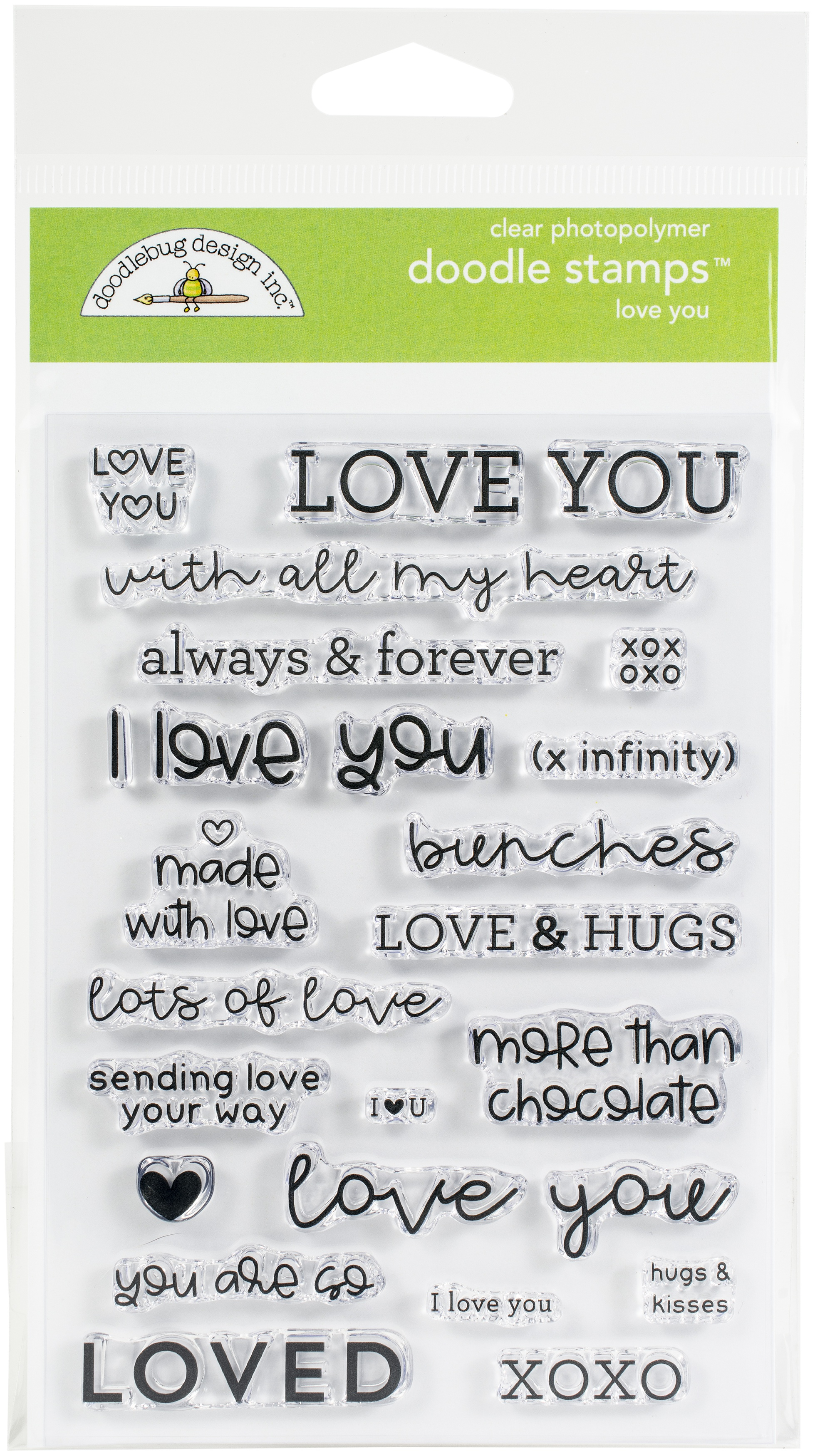 Doodlebug Clear Doodle Stamps-Love You