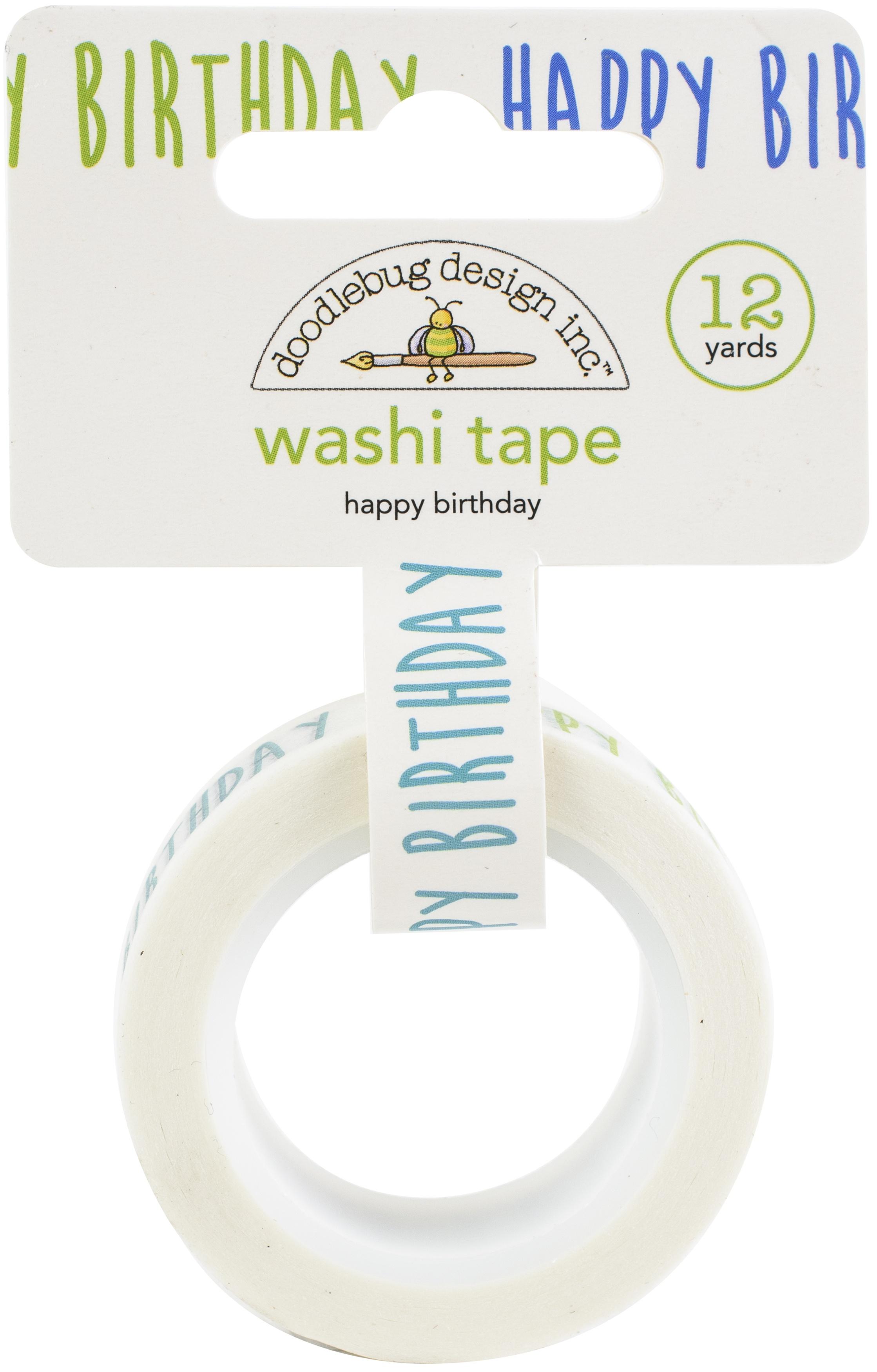 Doodlebug Washi Tape 15mmX12yd-Happy Birthday, Party Time