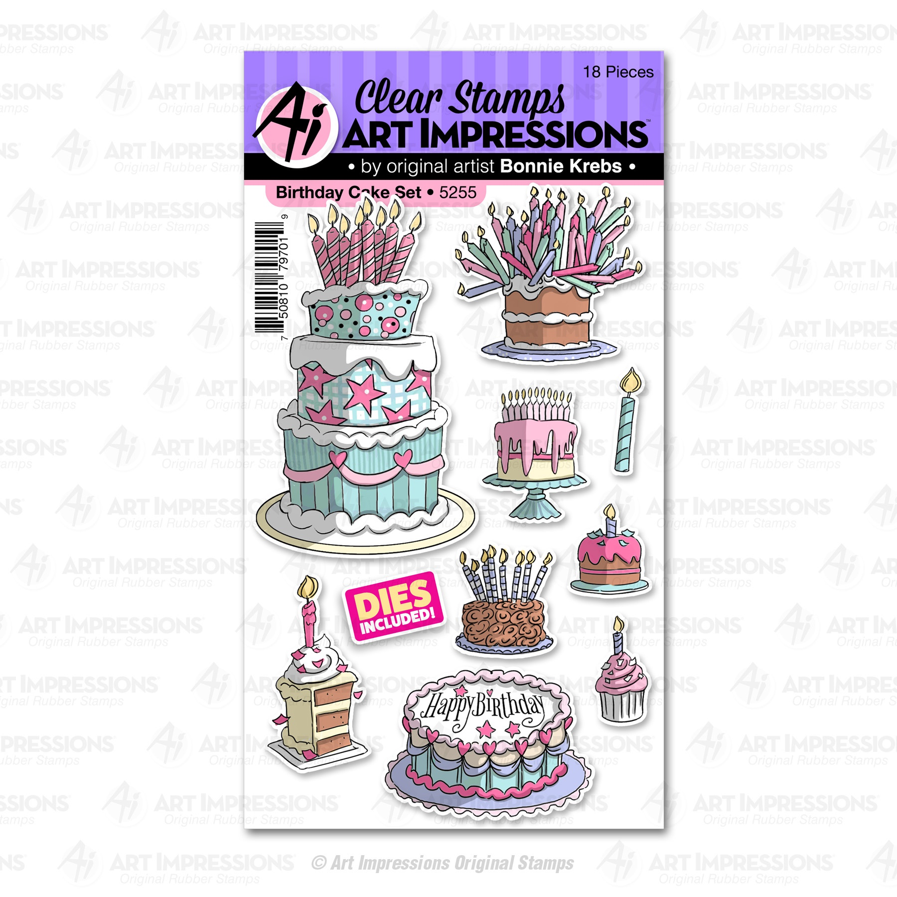 AI Clear Stamp & Die Set - Birthday Cake (5255)