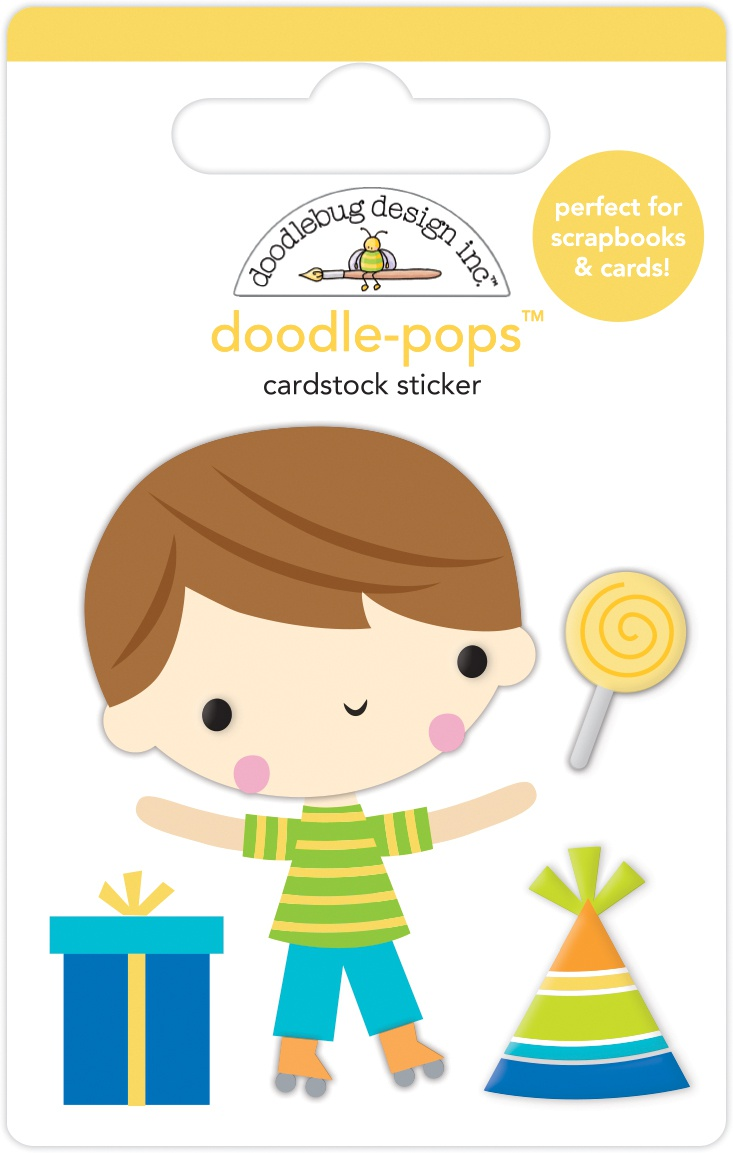 Doodlebug Doodle-Pops 3D Stickers-Birthday Boy Party Time