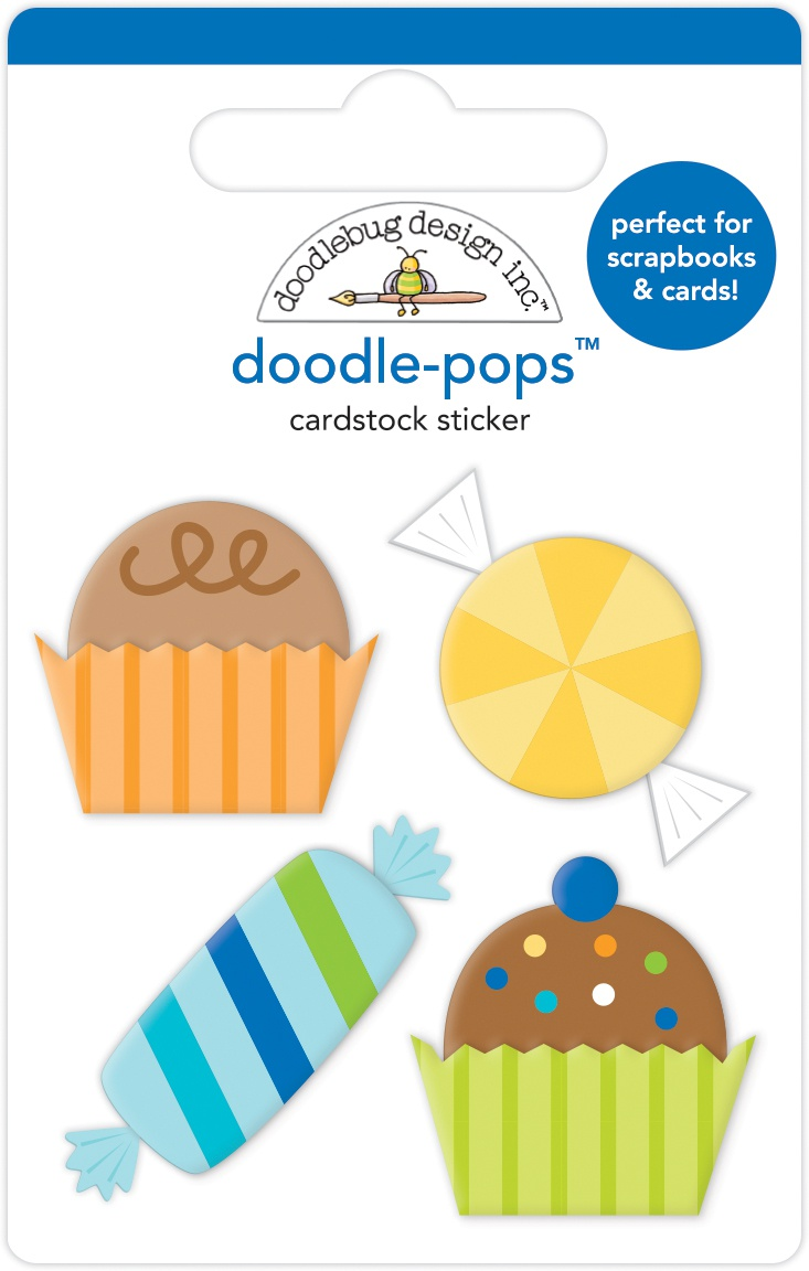 Doodlebug Doodle-Pops 3D Stickers-Party Favors, Party Time