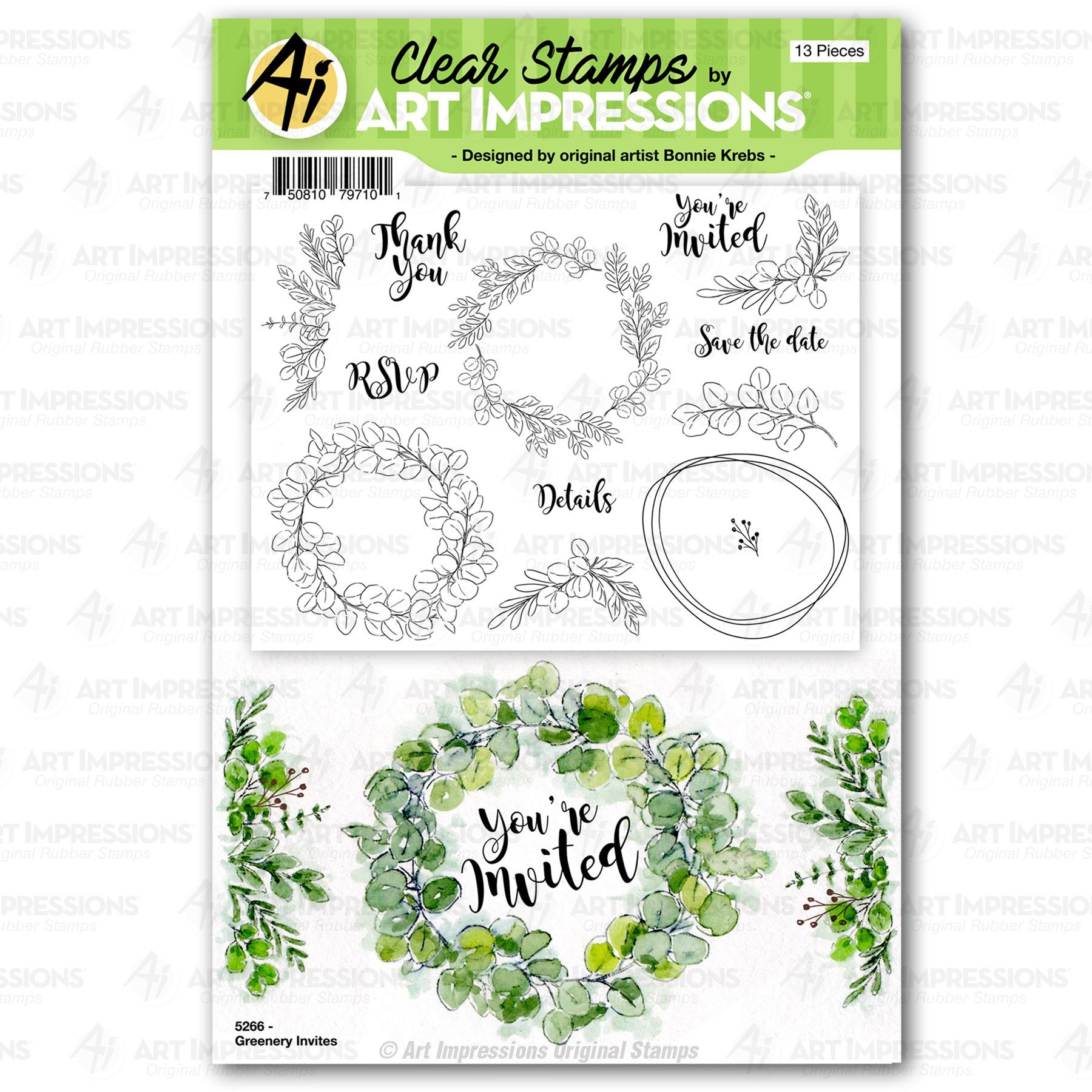 Greenery Invites Stamp Set