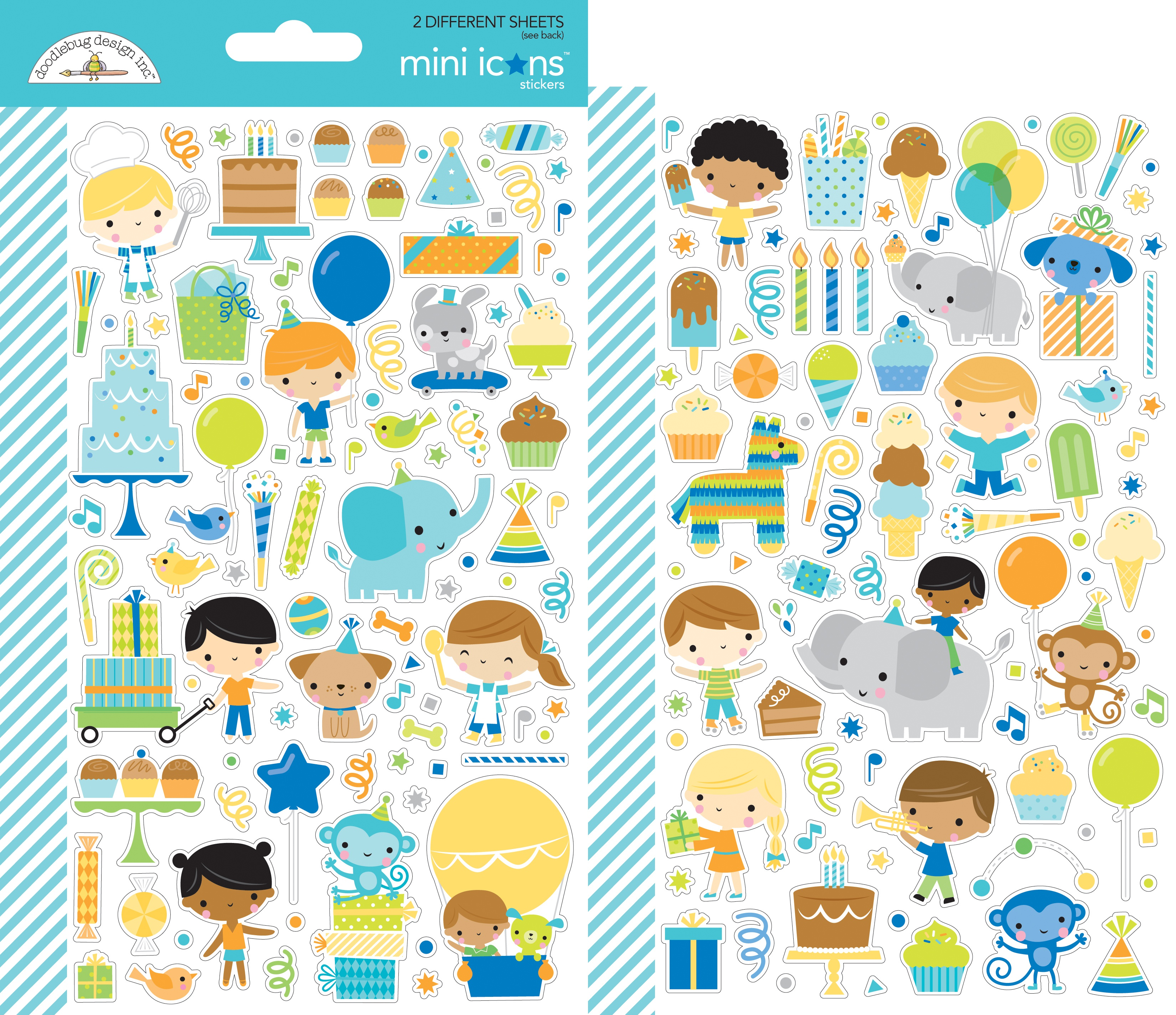 Doodlebug Mini Cardstock Stickers 2/Pkg-Party Time Icons