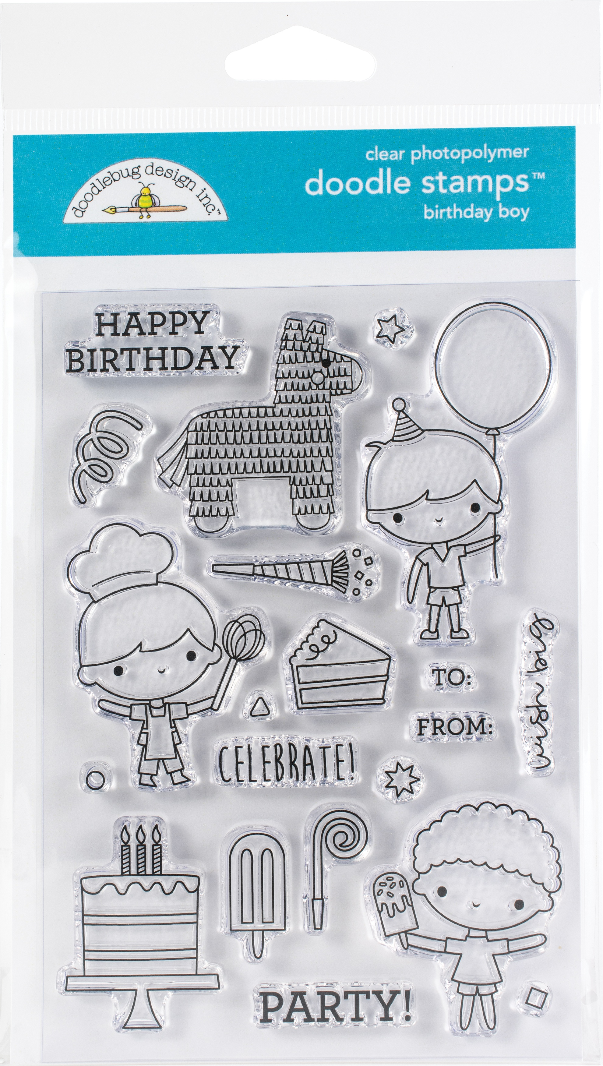 Doodlebug Clear Doodle Stamps-Birthday Boy Party Time