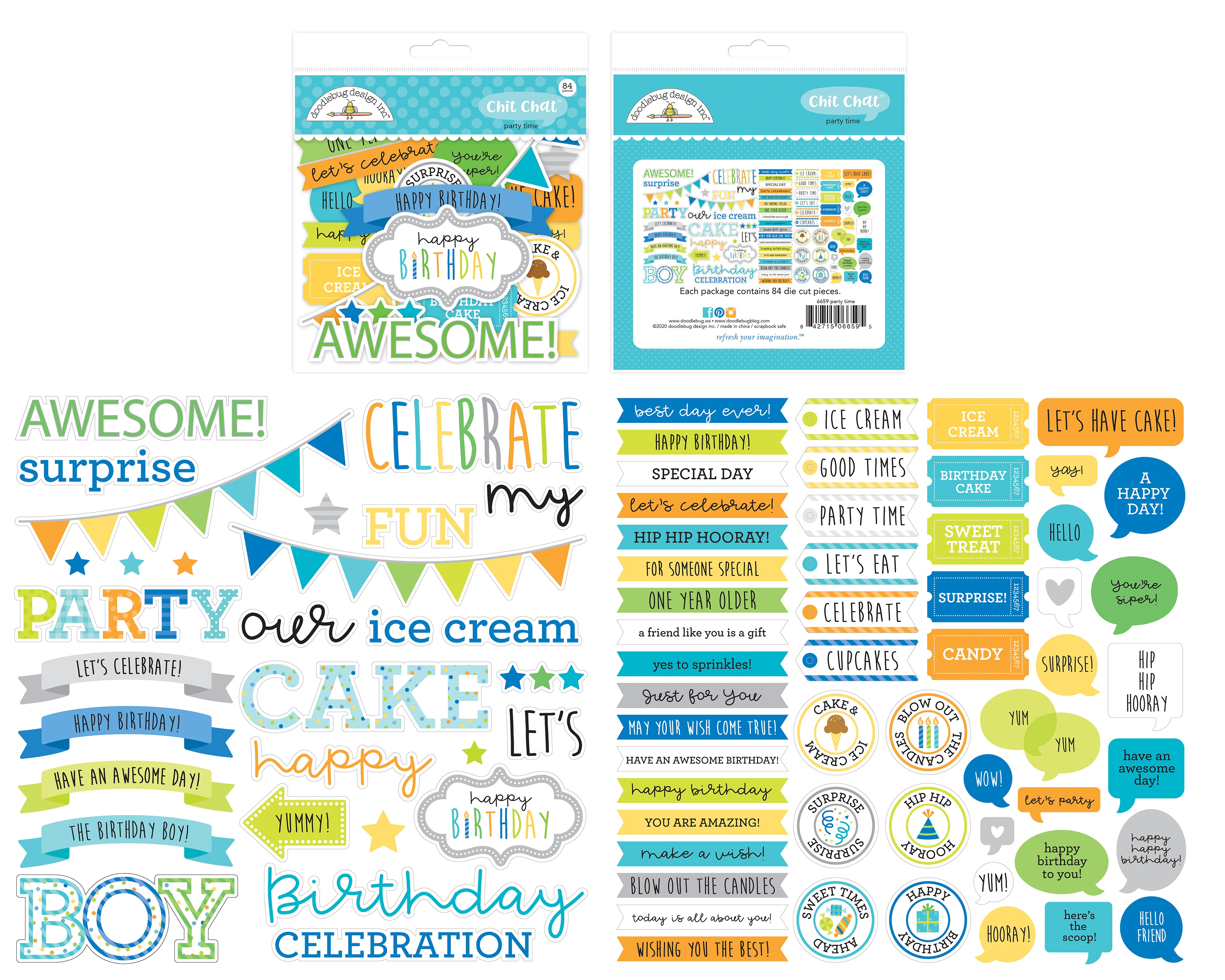 Doodlebug Odds & Ends Chit Chat Die-Cuts-Party Time