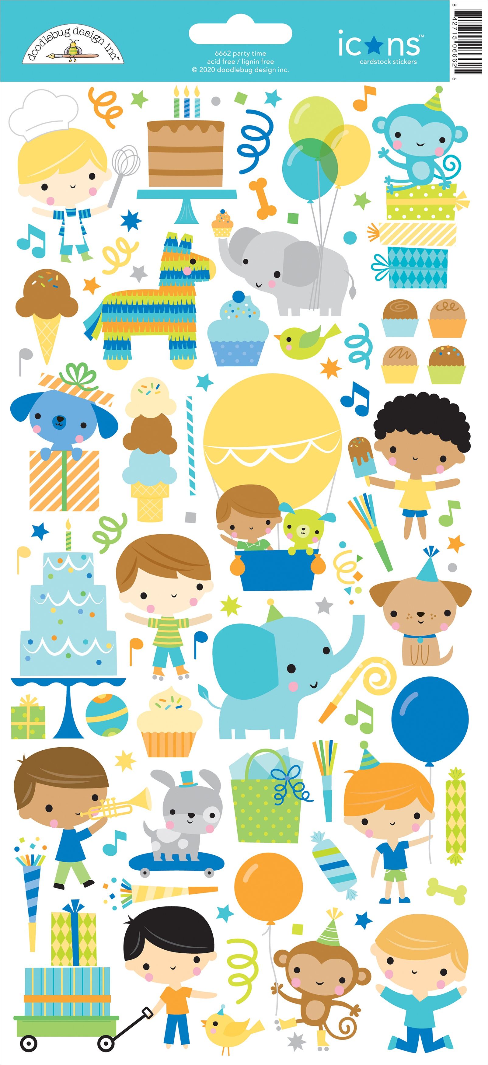 Doodlebug Cardstock Stickers 6X13-Party Time Icons