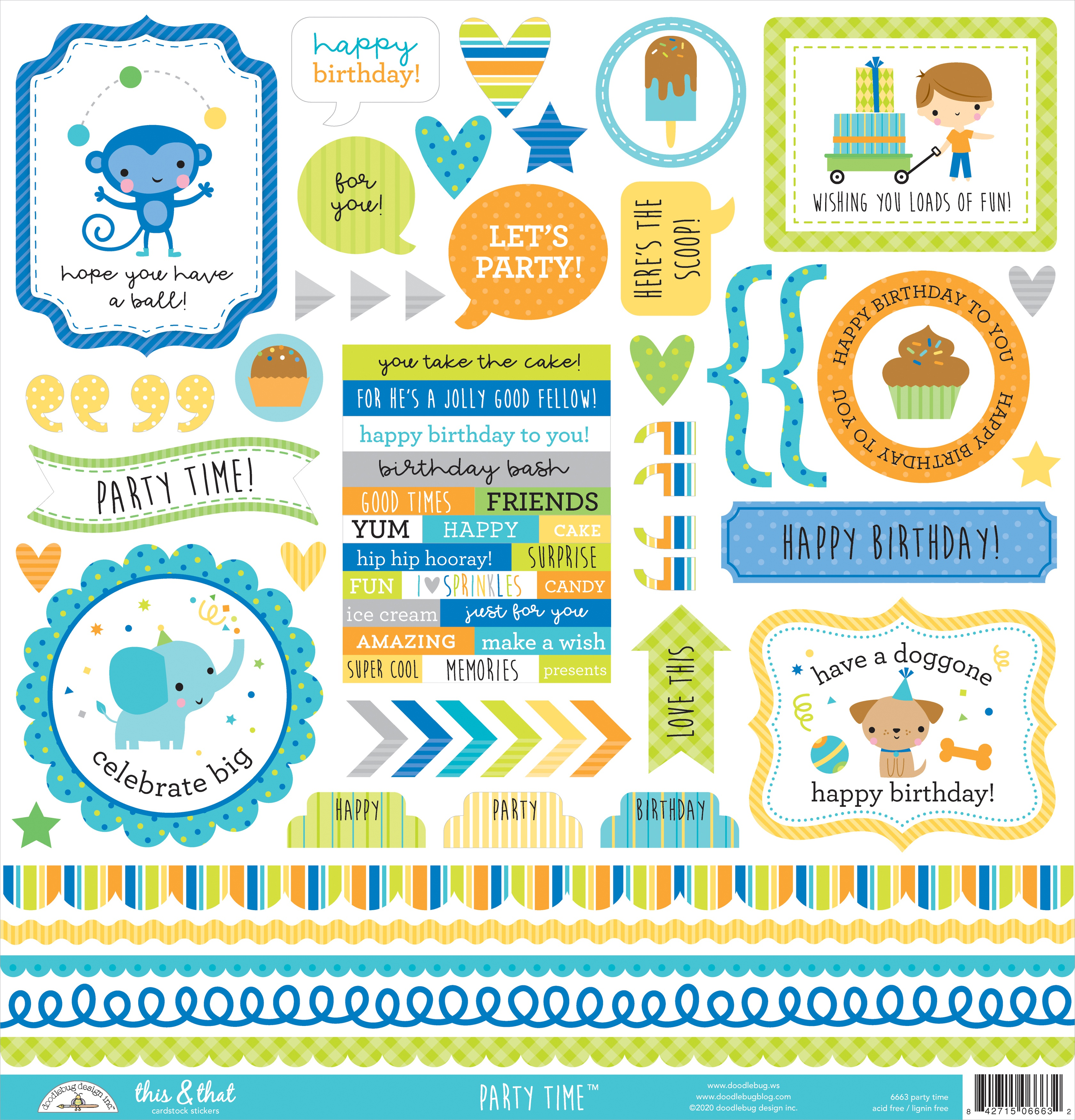 Doodlebug This & That Cardstock Stickers 12X12-Party Time