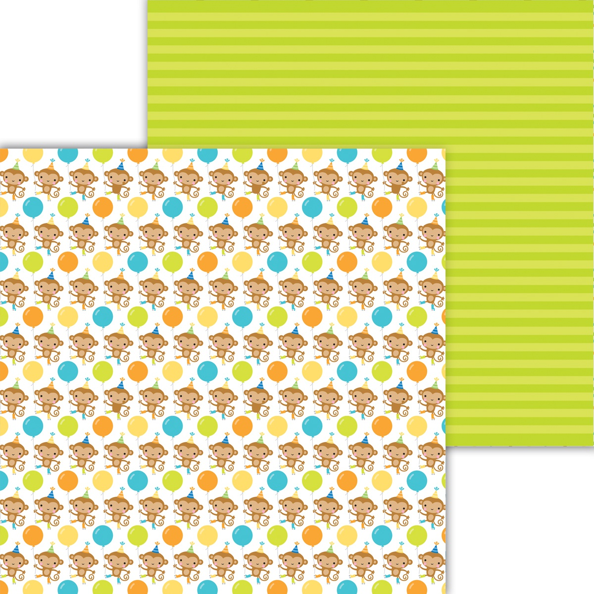 Party Time Double-Sided Cardstock 12X12-Monkeying Around
