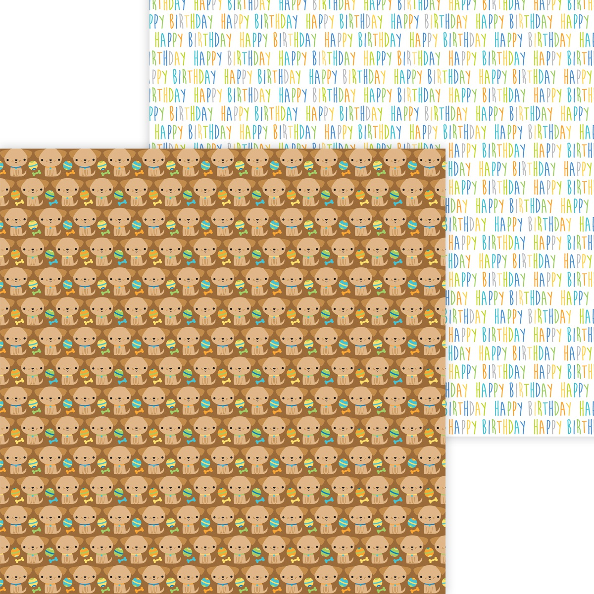 Doodlebug Party Time Double-Sided Cardstock 12x12- Playful Puppies