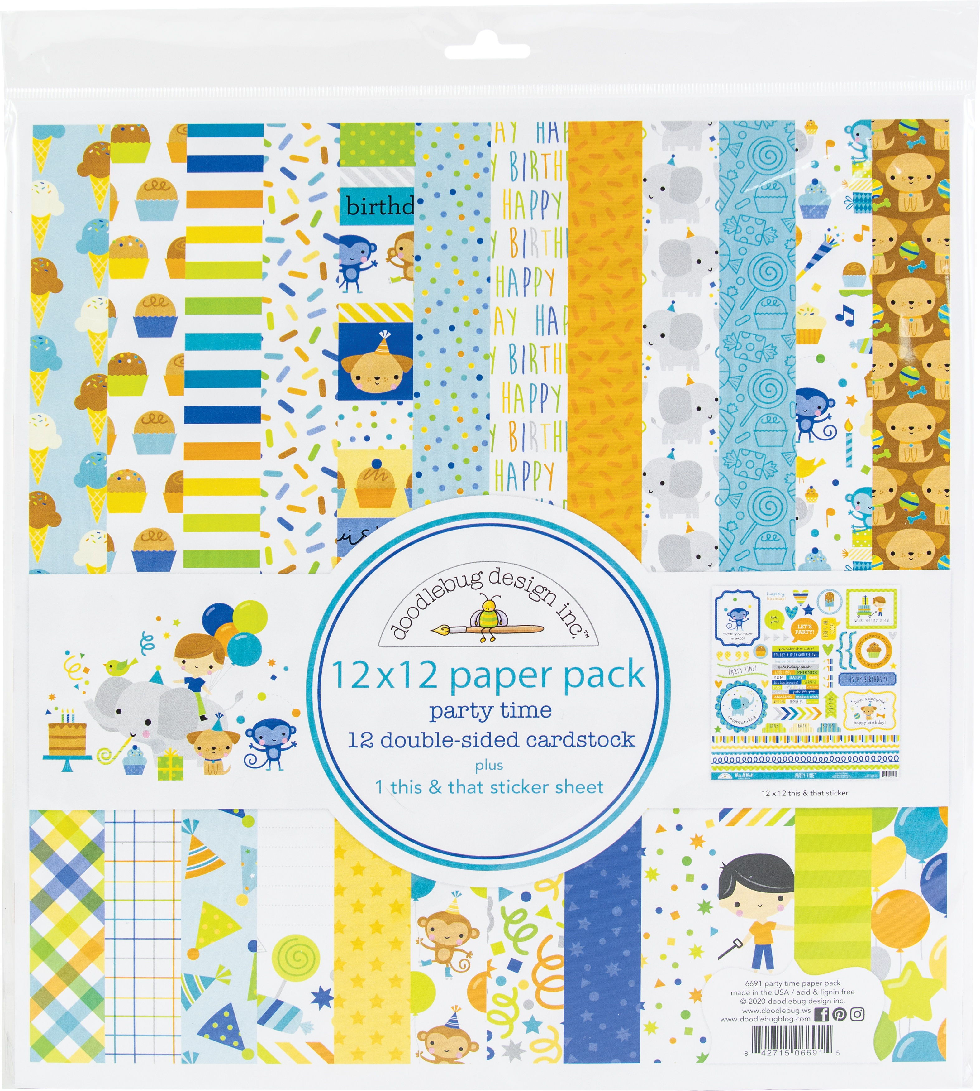 Doodlebug Double-Sided Paper Pack 12X12 12/Pkg-Party Time
