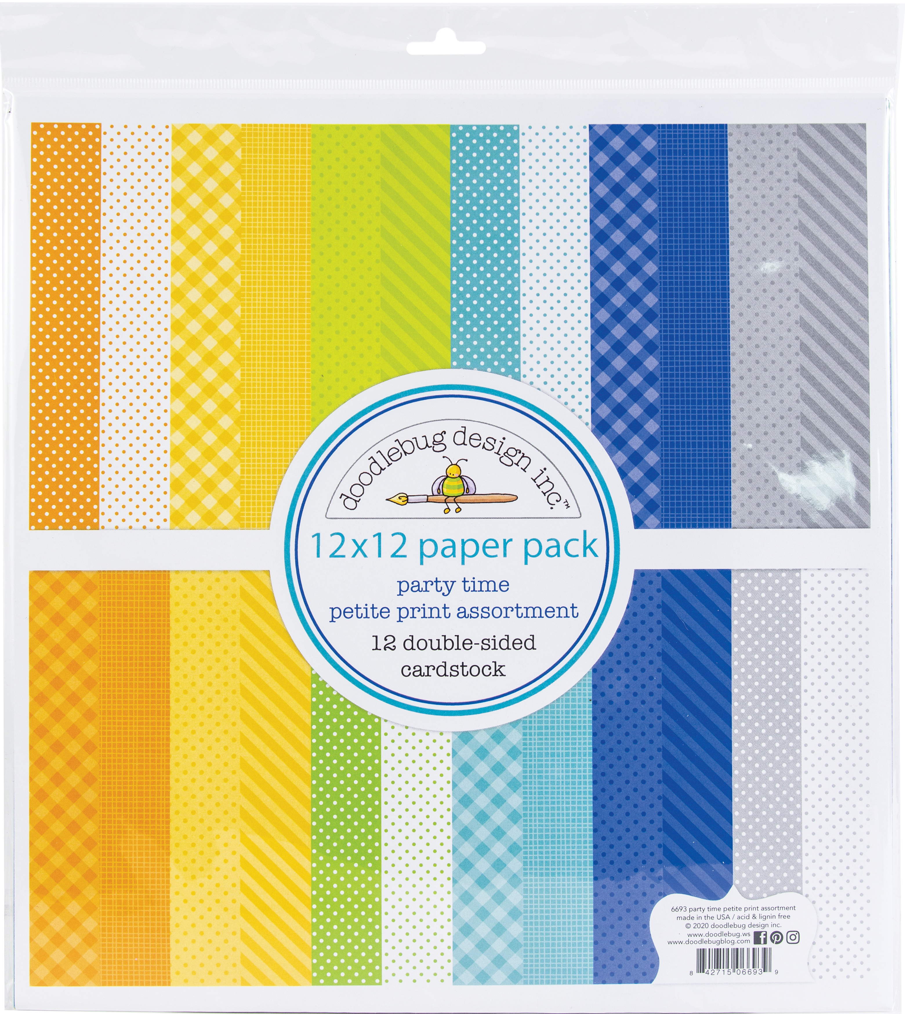 Doodlebug Petite Prints Double-Sided Cardstock 12X12 12/Pk-Party Time, 12 Desi...
