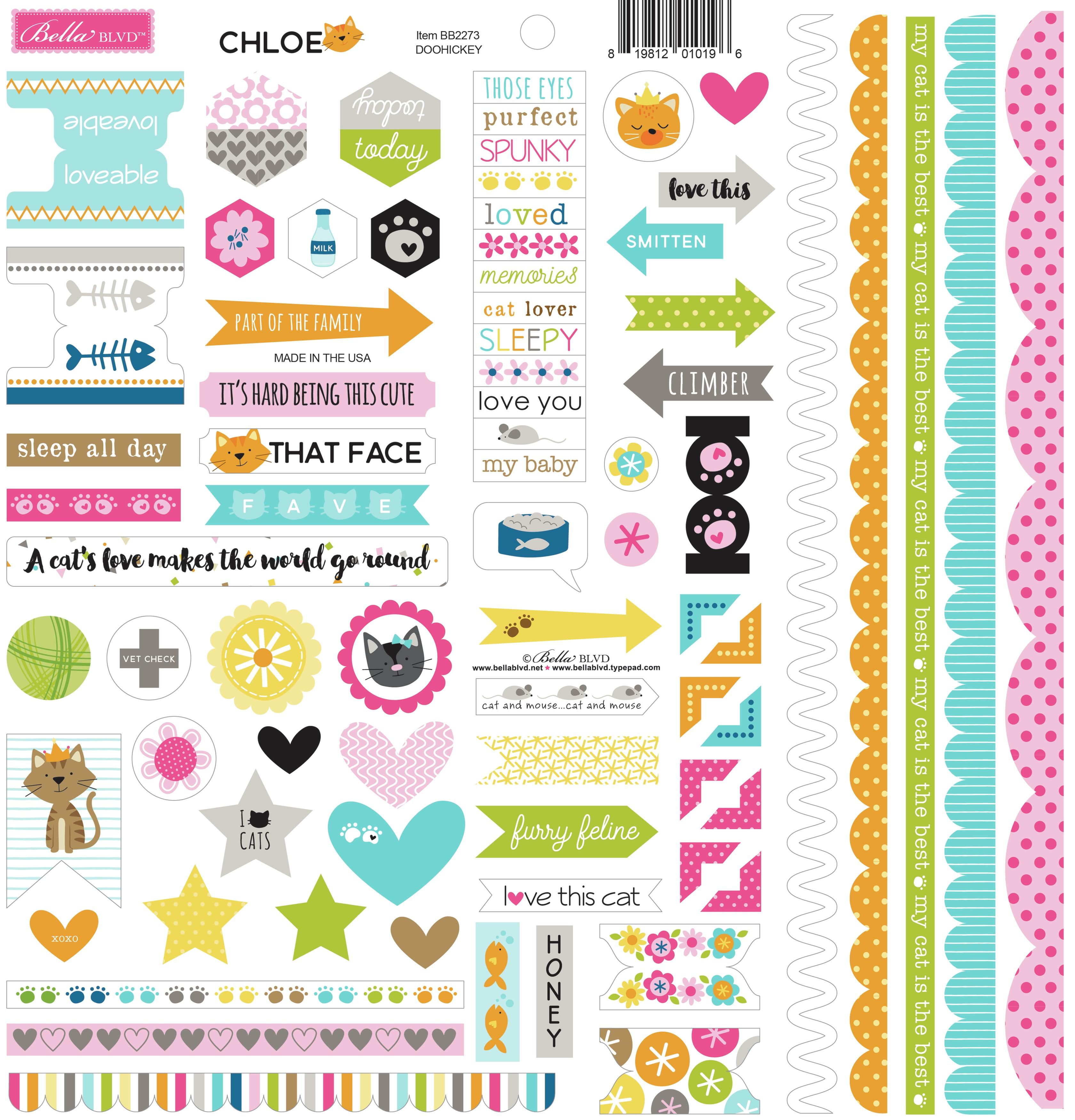 Chloe Cardstock Stickers 12'x12-Chloe Doohickey