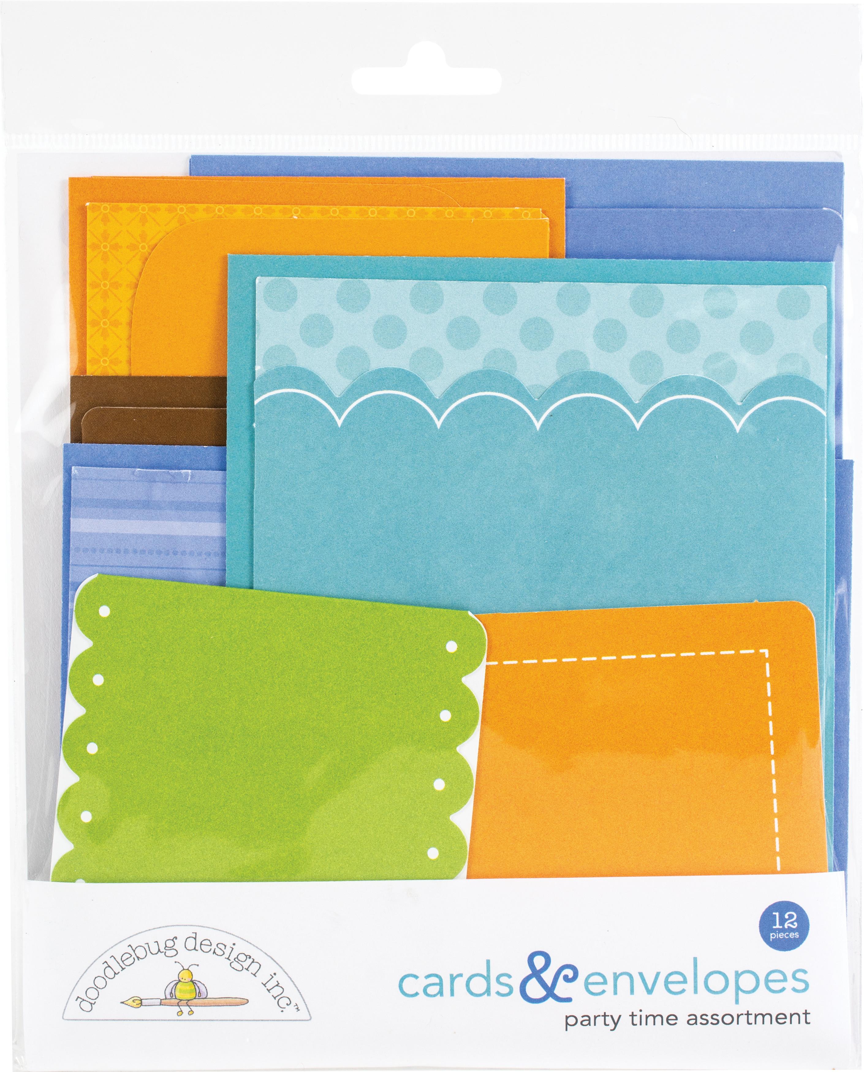 Doodlebug Cards & Envelopes 12/Pkg-Party Time, 6 Cards/6 Envelopes