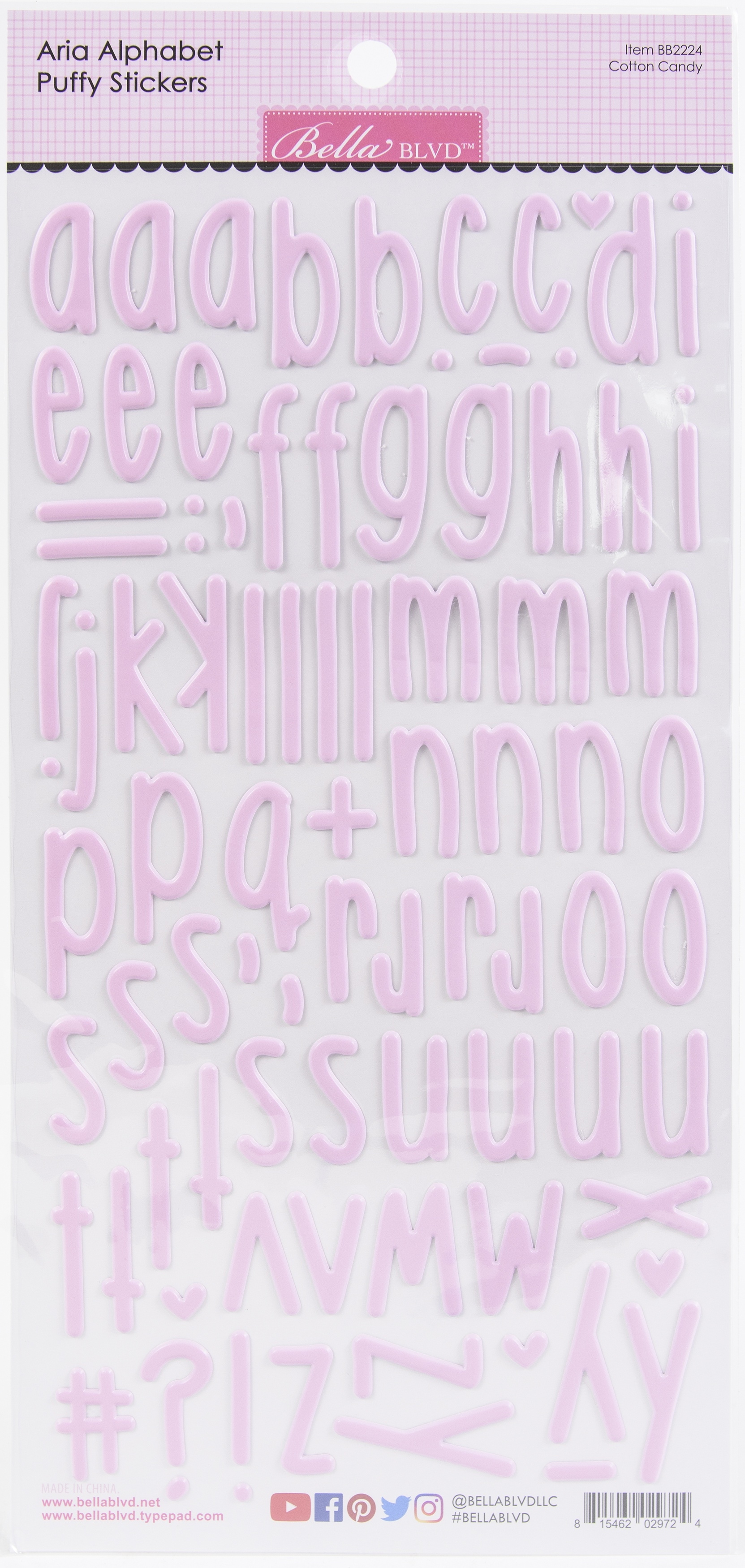 Aria Alpha Puffy Stickers-Cotton Candy