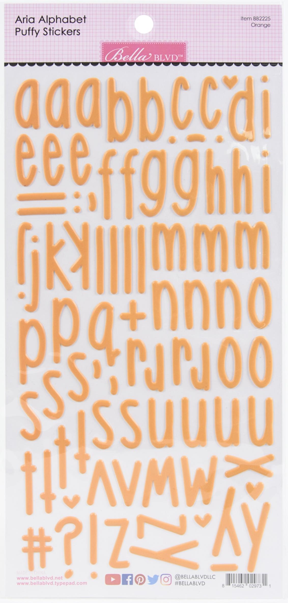 Aria Alpha Puffy Stickers-Orange