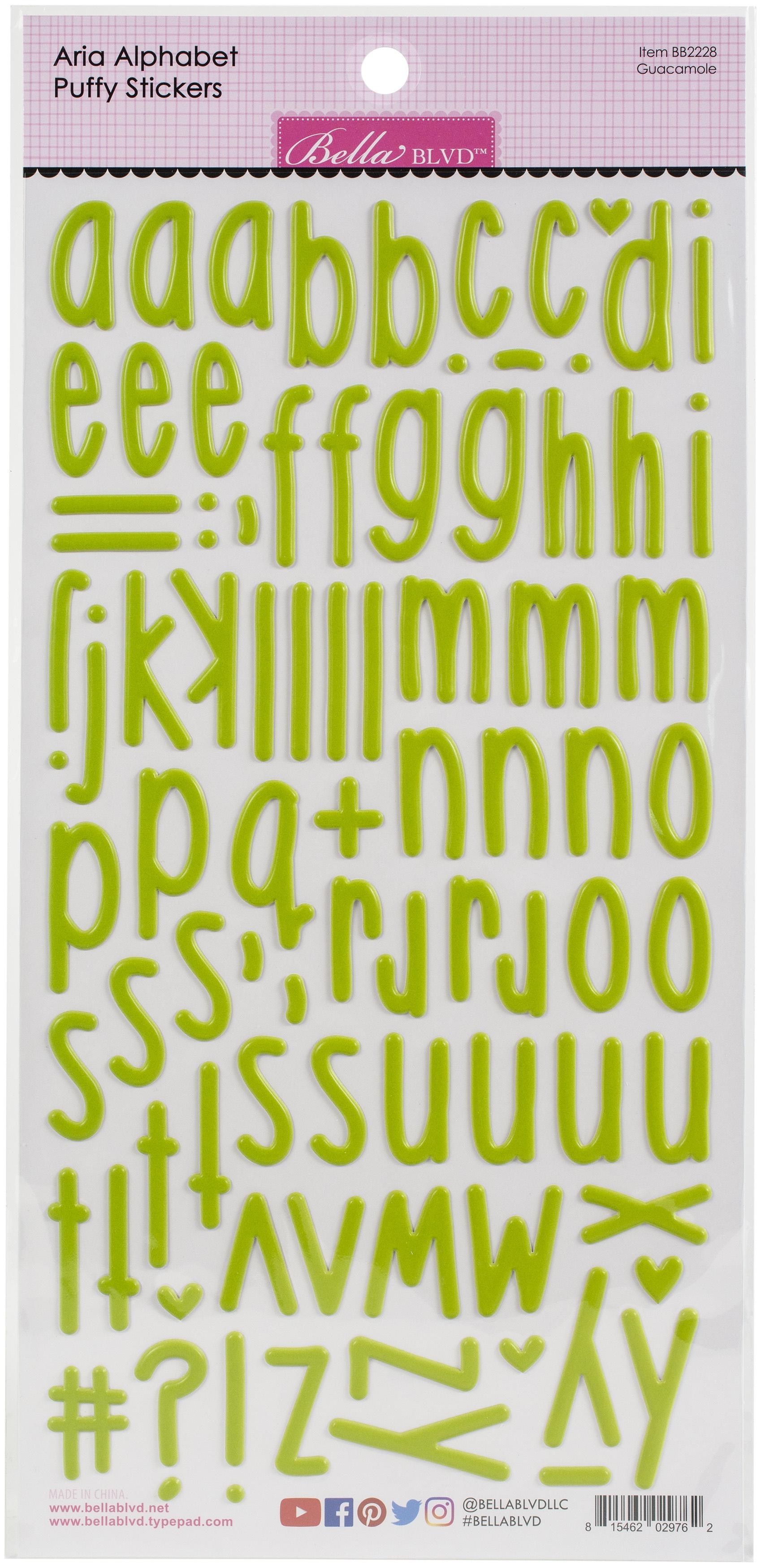 Aria Alpha Puffy Stickers Guacamole