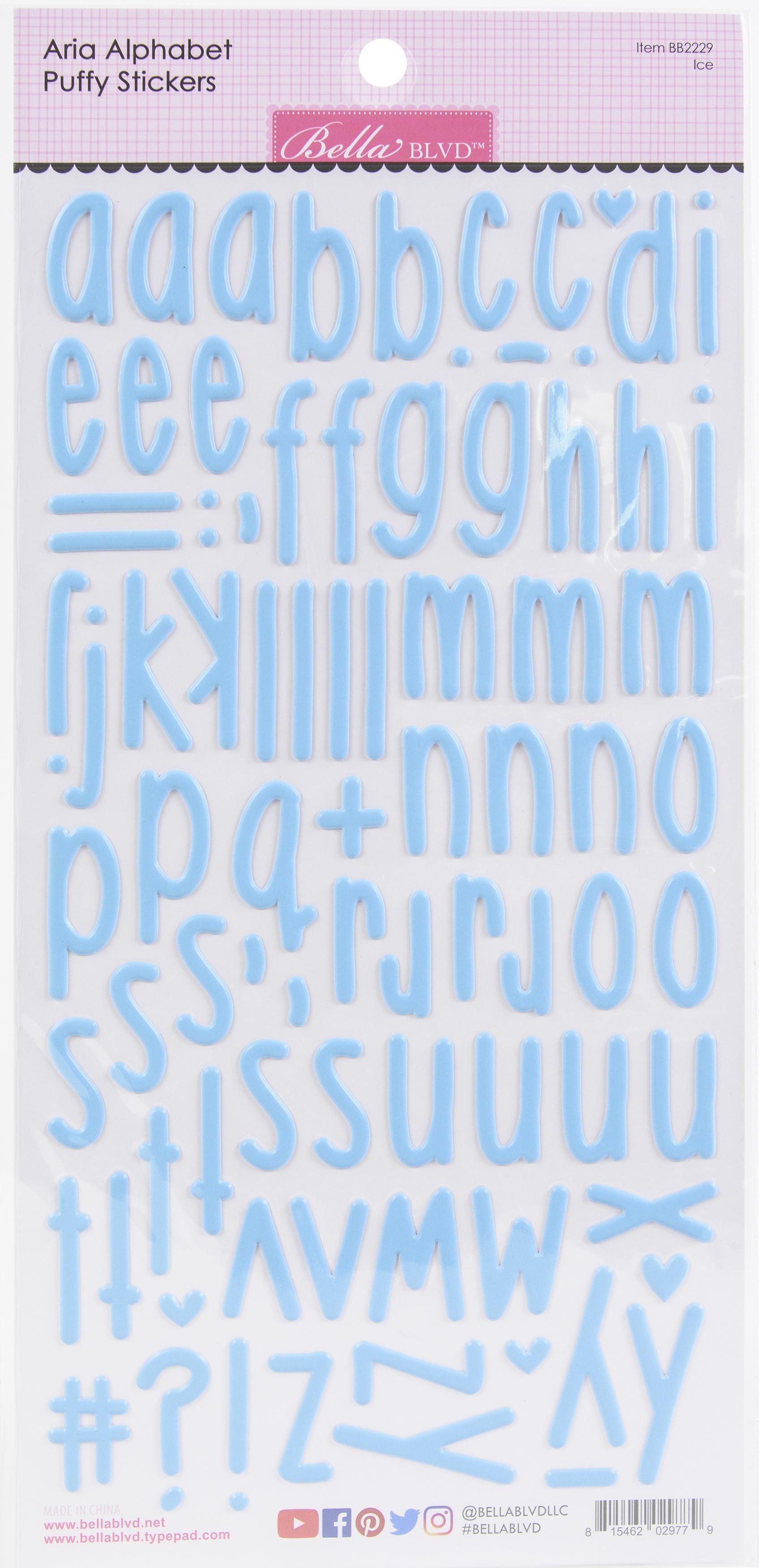 Aria Alpha Puffy Stickers-Ice
