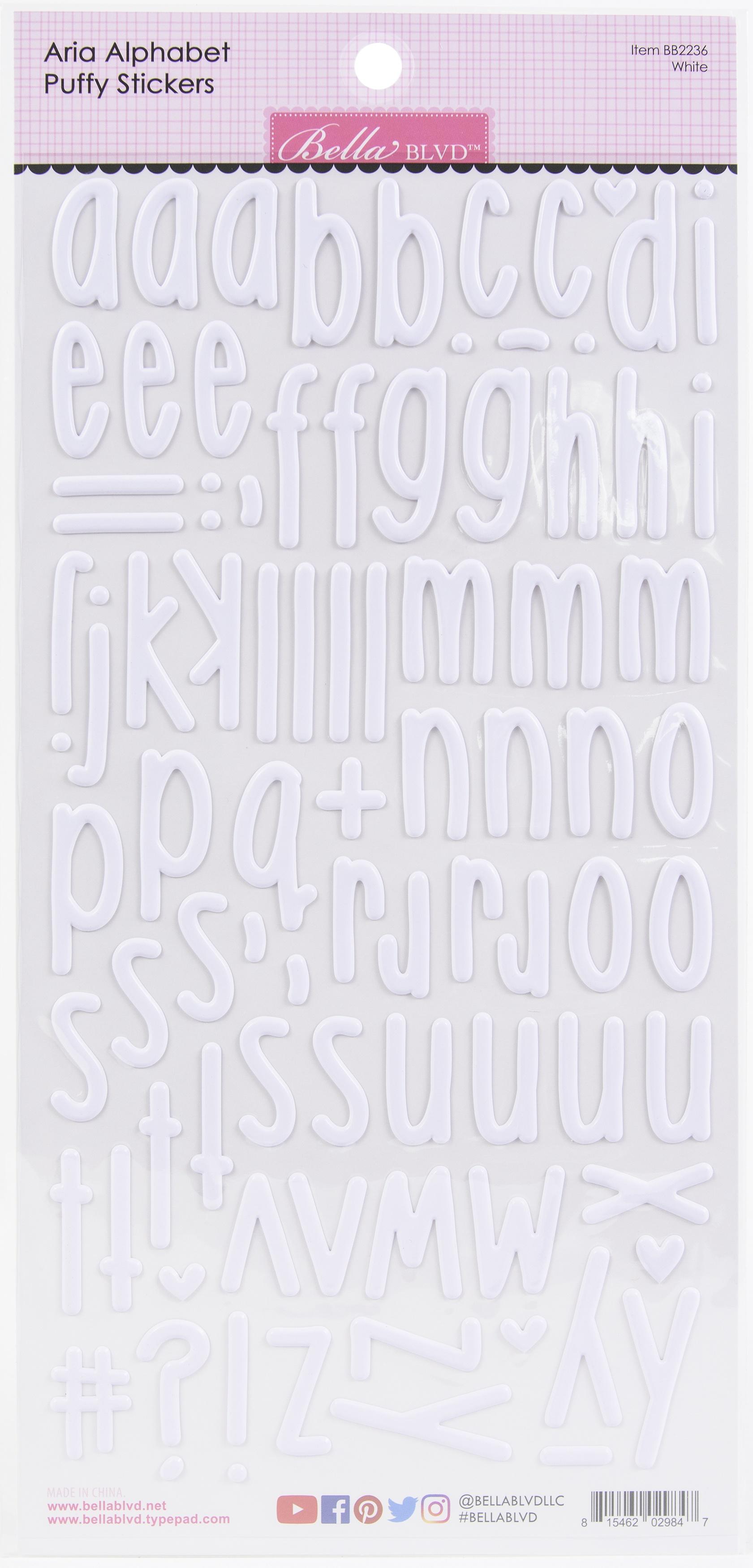 Aria Alpha Puffy Stickers-White