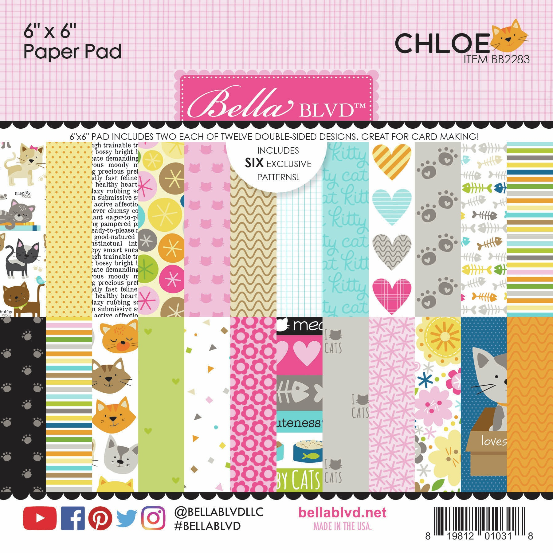 Bella Blvd Double-Sided Paper Pad 6X6 24/Pkg-Chloe 12 Designs/2 Each