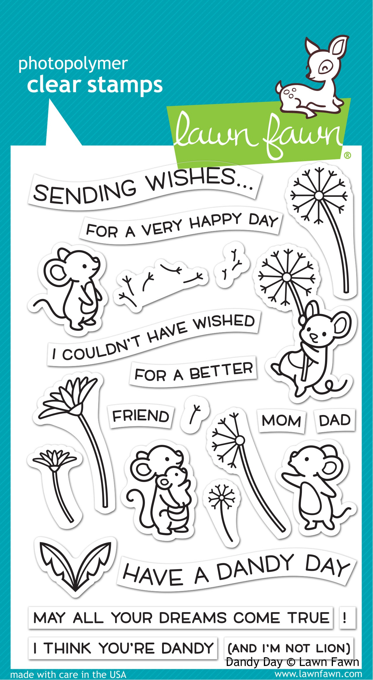 Lawn Fawn Clear Stamps 4X6-Dandy Day