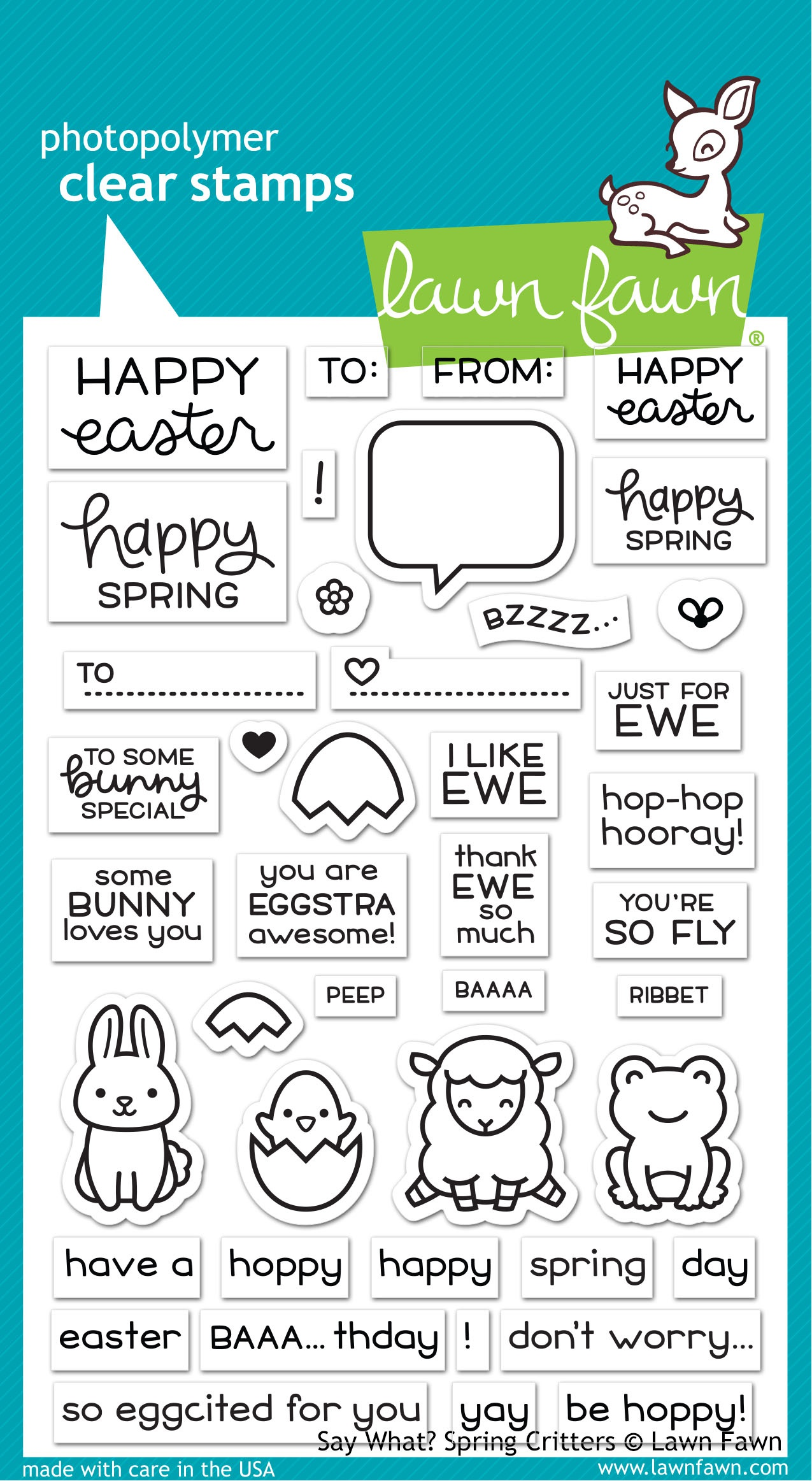 Lawn Fawn Clear Stamps 4X6-Say What? Spring Critters