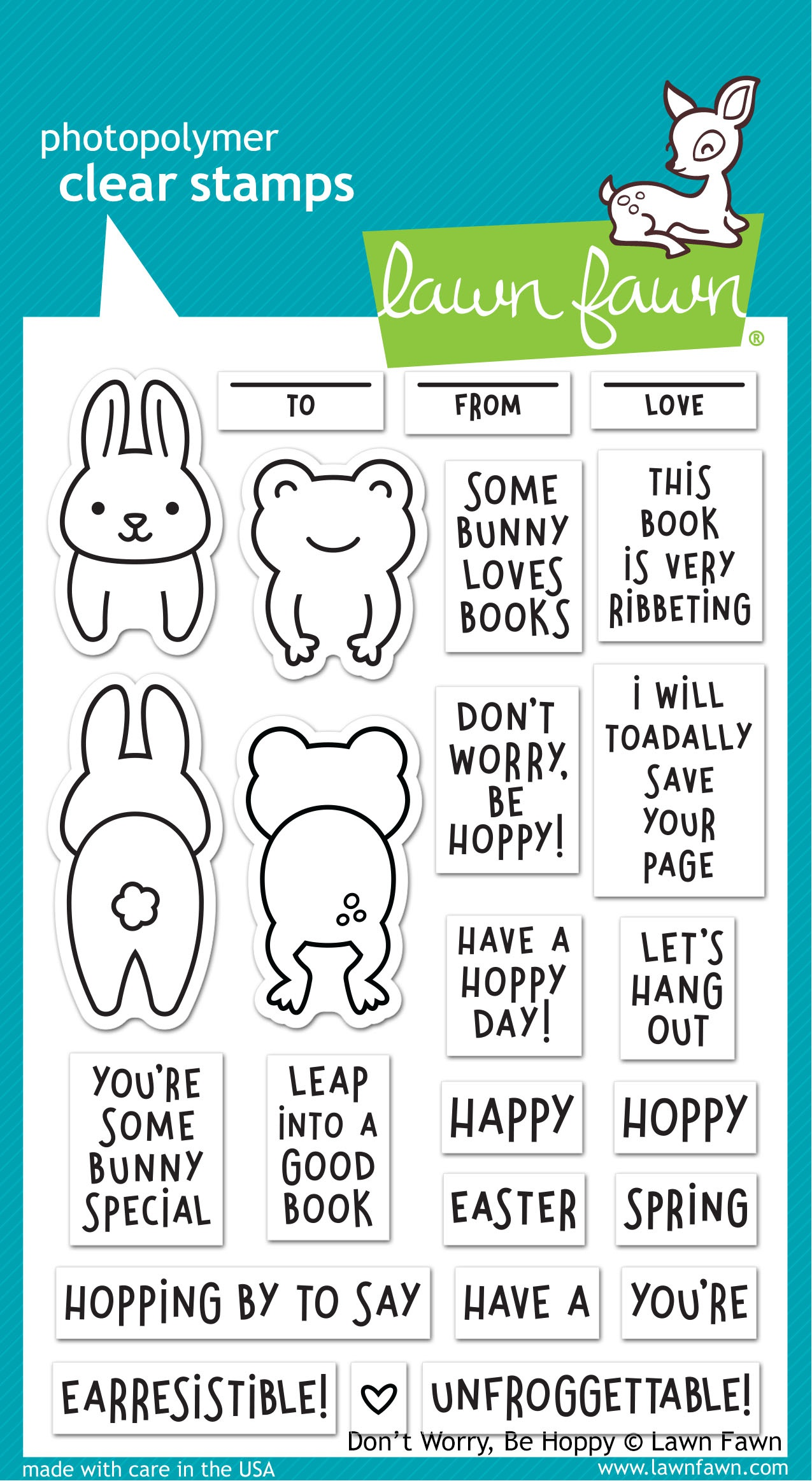 Lawn Fawn - Clear Stamps - Don't Worry, Be Hoppy