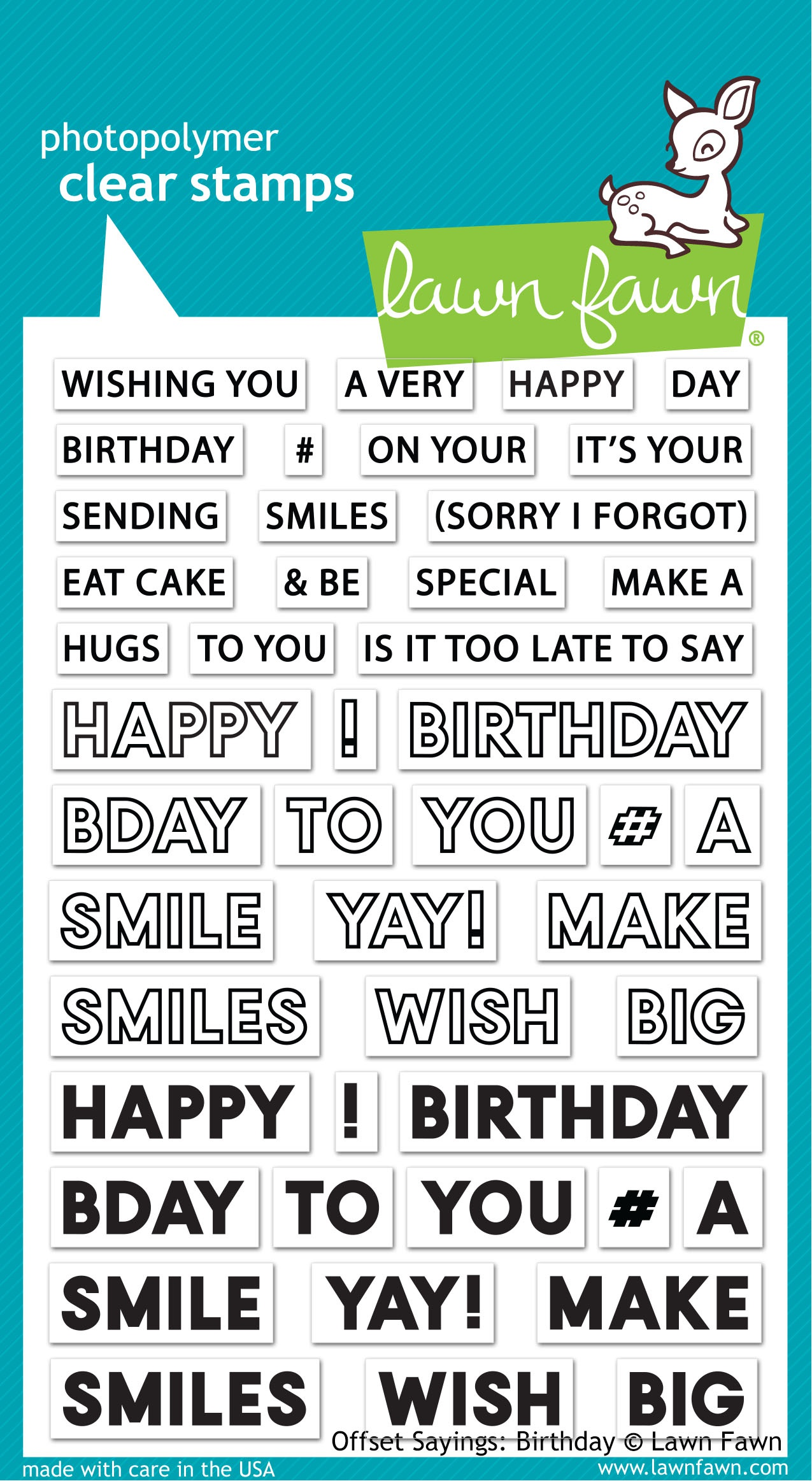 Lawn Fawn Clear Stamps 4X6-Offset Sayings: Birthday