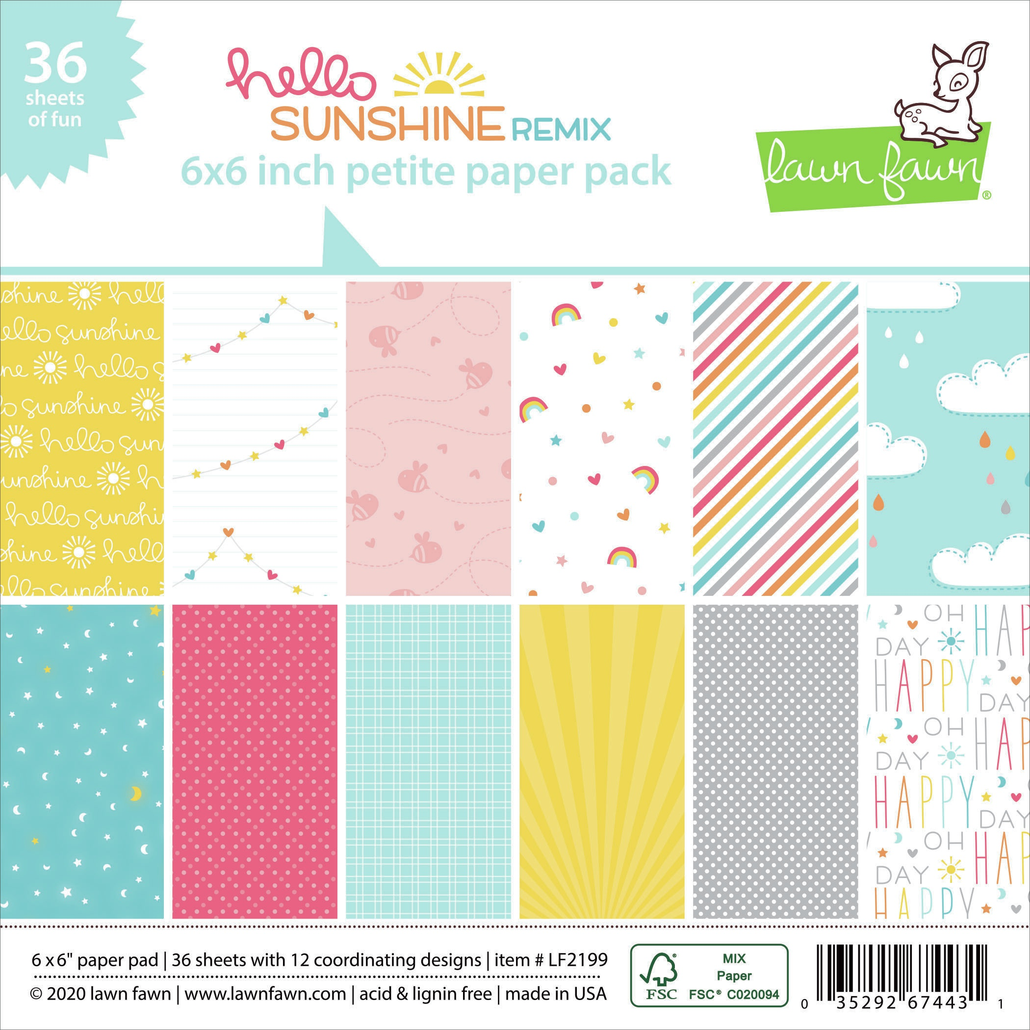 Lawn Fawn Single-Sided Petite Paper Pack 6X6 36/Pkg-Hello Sunshine Remix, 12 Designs/3 Each