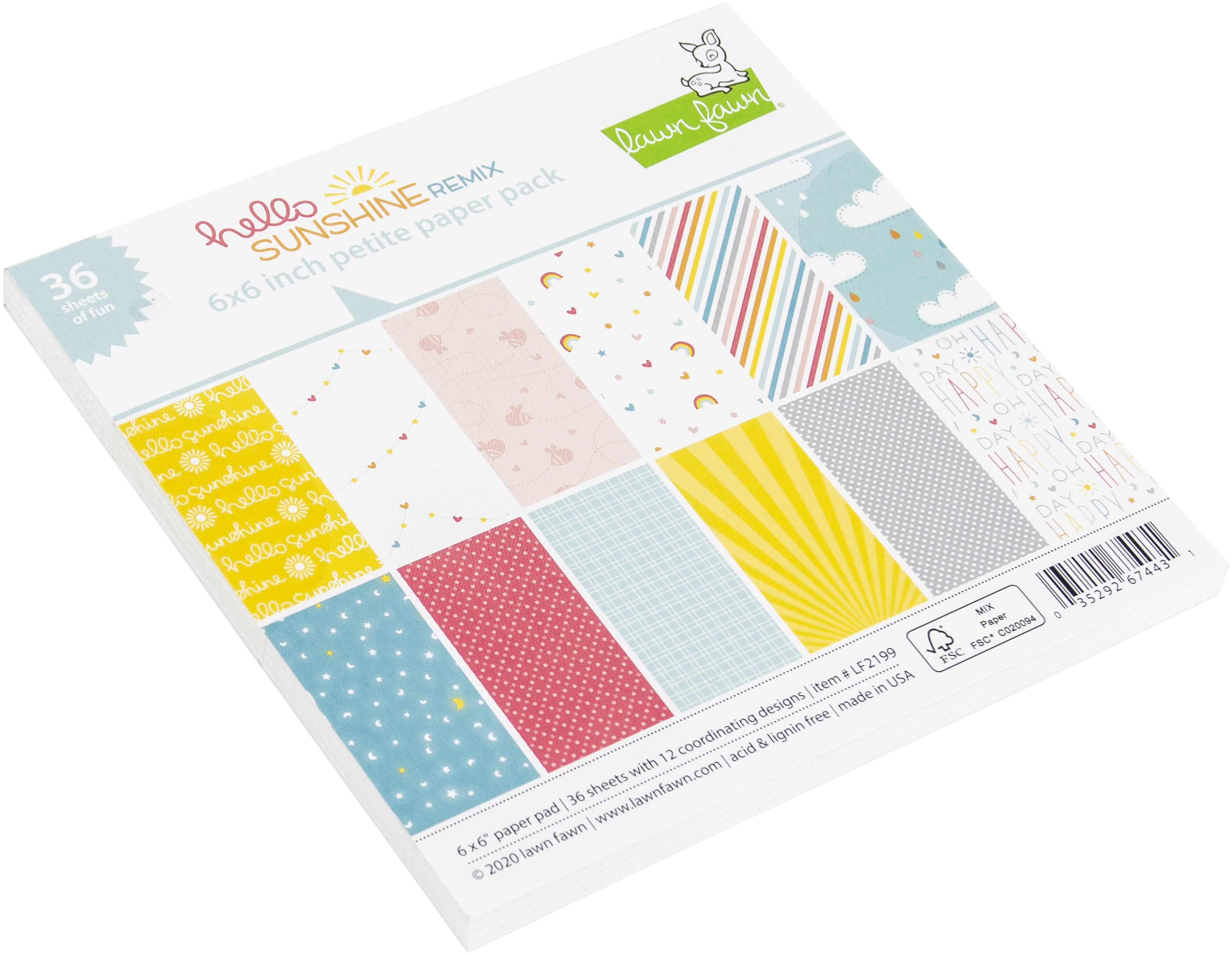 Lawn Fawn Single-Sided Petite Paper Pack 6X6 36/Pkg-Hello Sunshine Remix, 12 Designs/3 Each