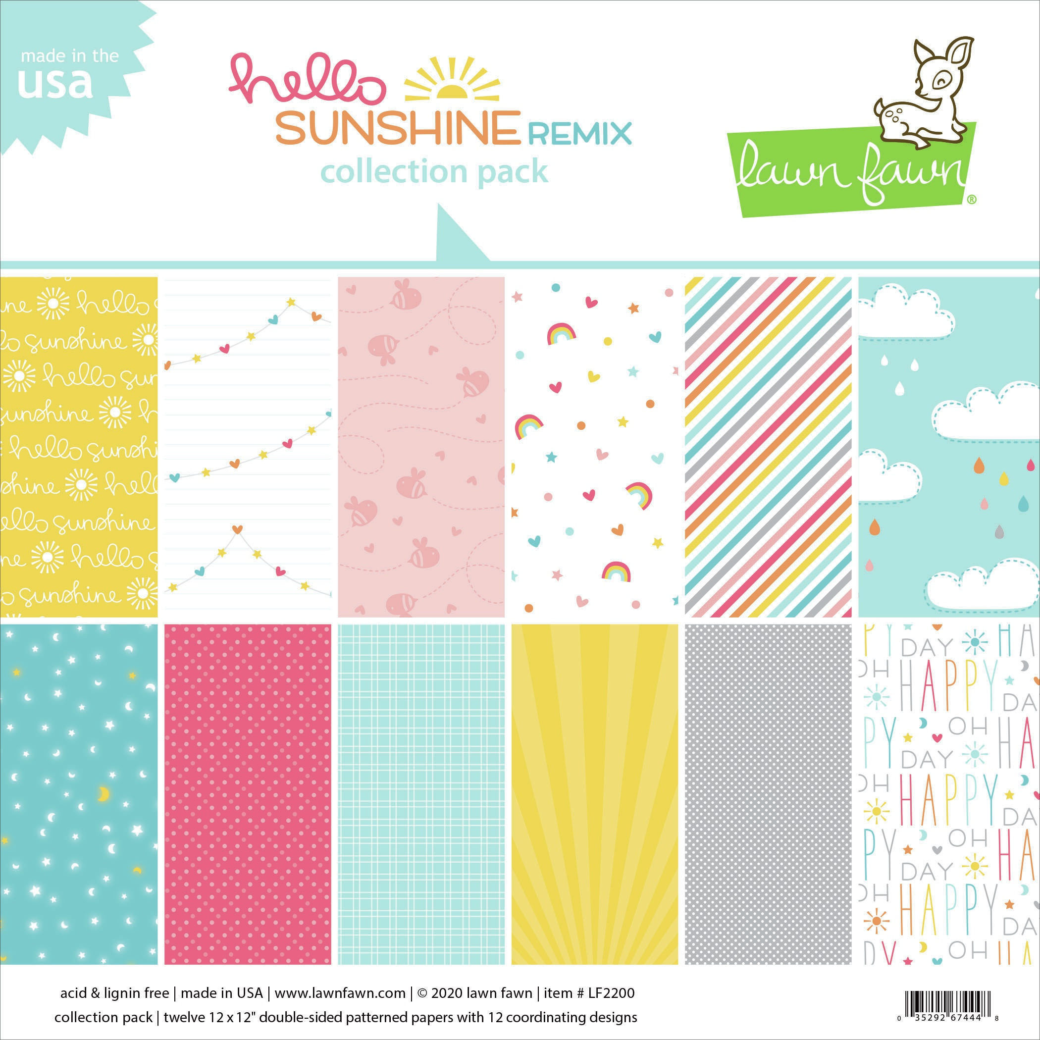 Lawn Fawn Double-Sided Collection Pack 12X12 12/Pkg-Hello Sunshine Remix 6 Des...