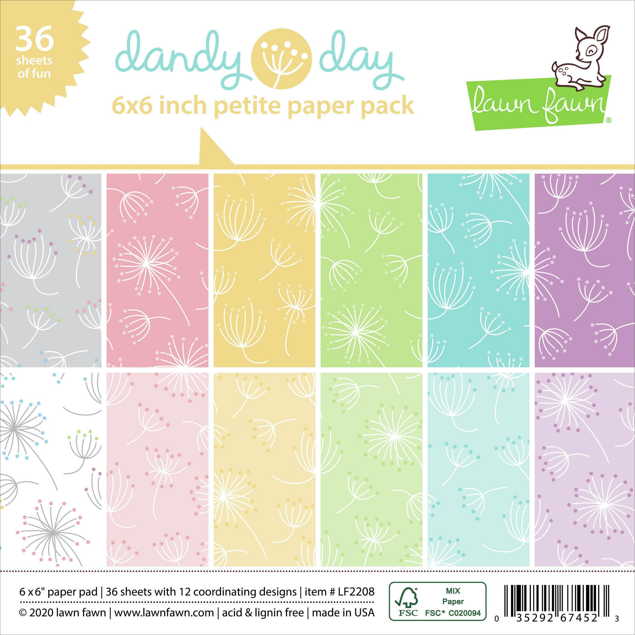 Lawn Fawn Single-Sided Petite Paper Pack 6X6 36/Pkg-Dandy Day, 12 Designs/3 Ea...
