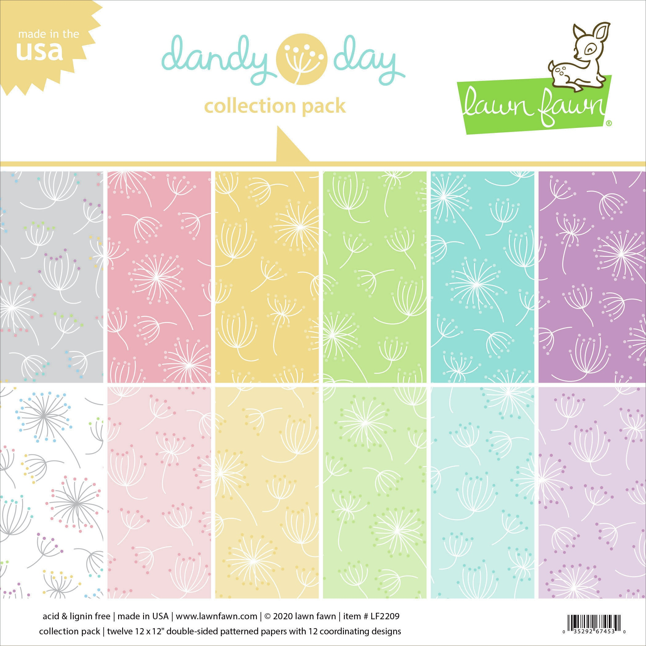 Lawn Fawn Double-Sided Collection Pack 12X12 12/Pkg-Dandy Day 6 Designs/2 Each