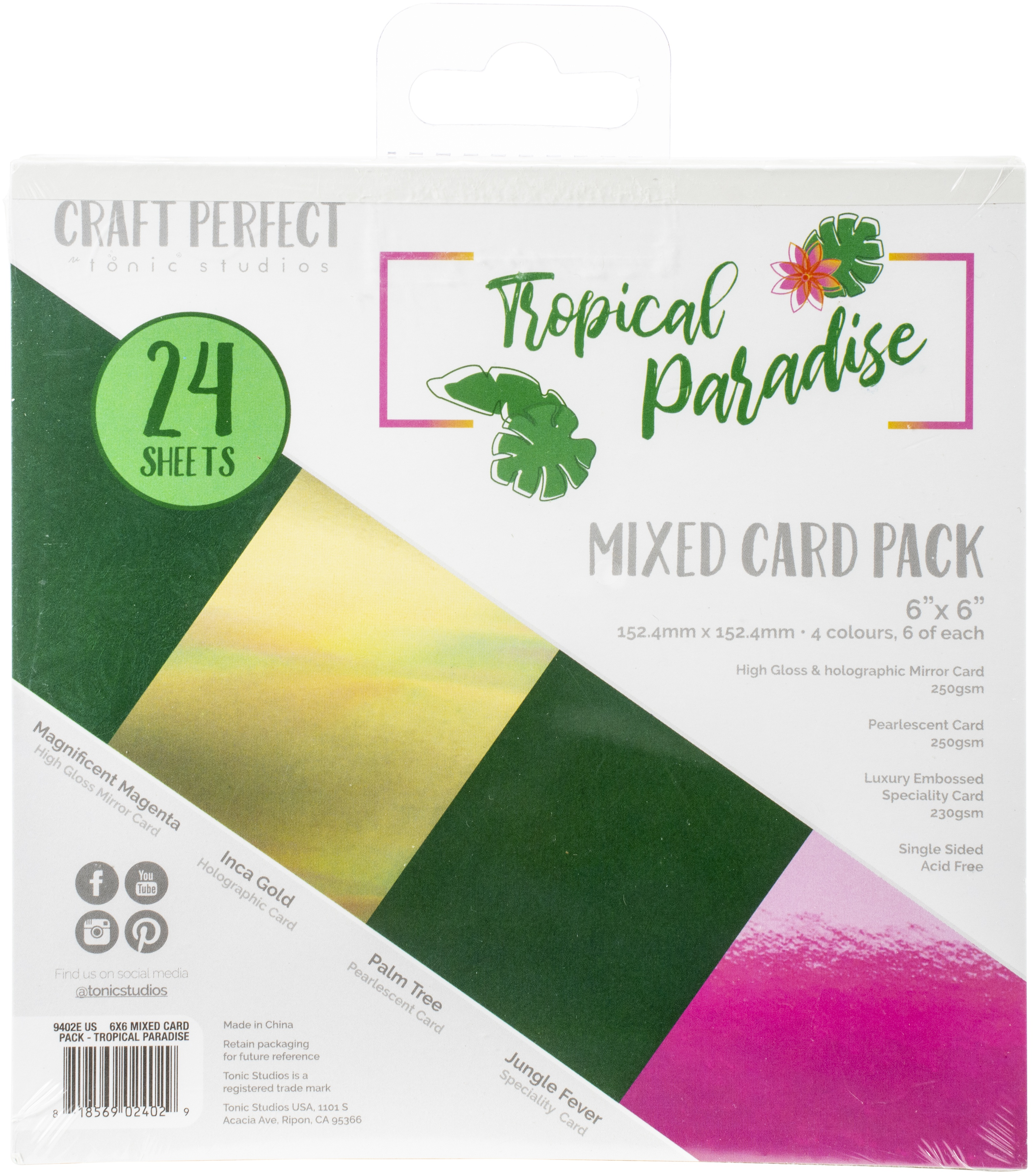 Craft Perfect Specialty Cardstock 6X6 24/Pkg-Tropical Paradise
