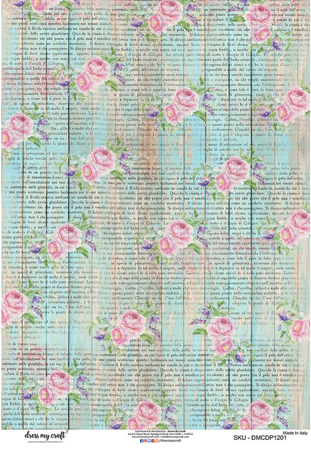 Dress My Craft Decopatch Rice Paper A3 -Weathered Fence With Pink Roses