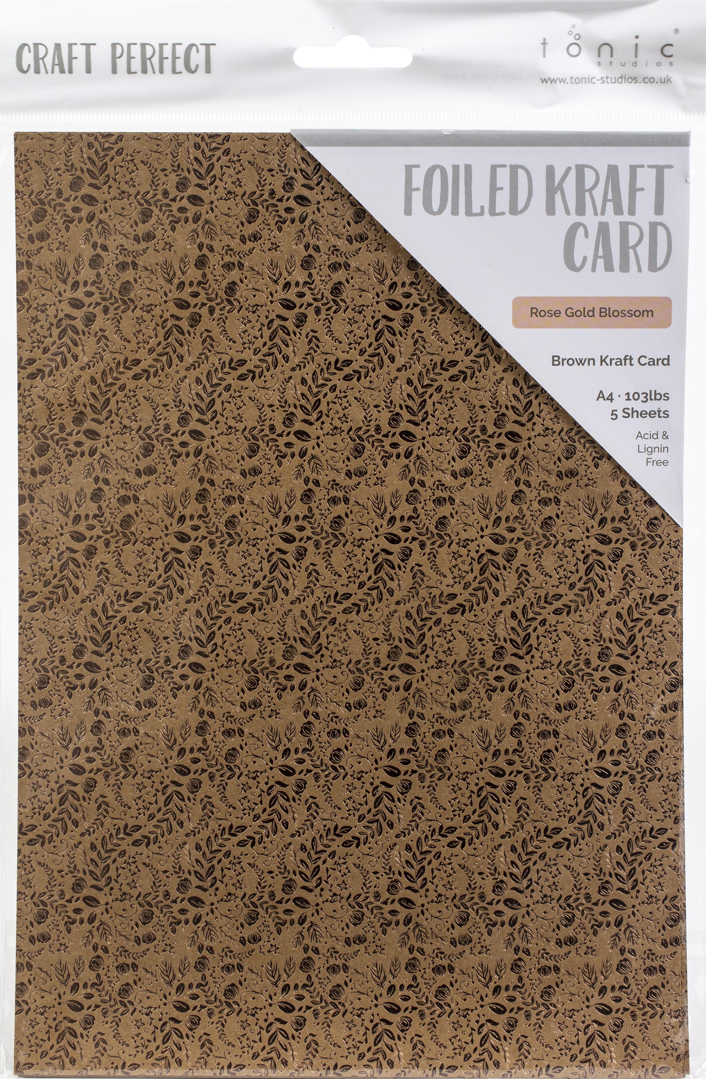 Craft Perfect Foiled Kraft Card A4 5/Pkg-Rose Gold Blossom