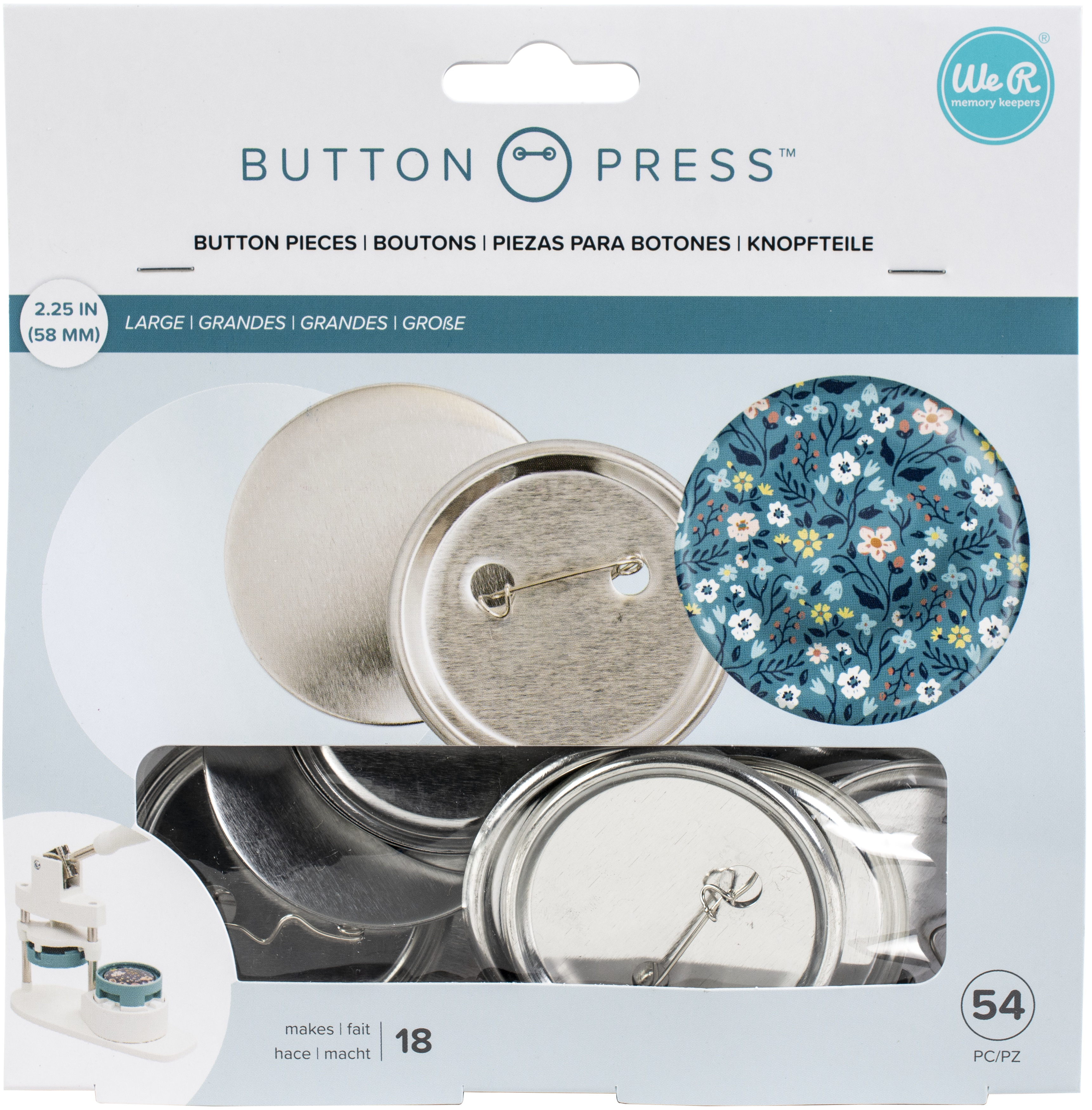 We R Memory Keepers Button Press Refill Pack 18/Pkg-Large (58mm)