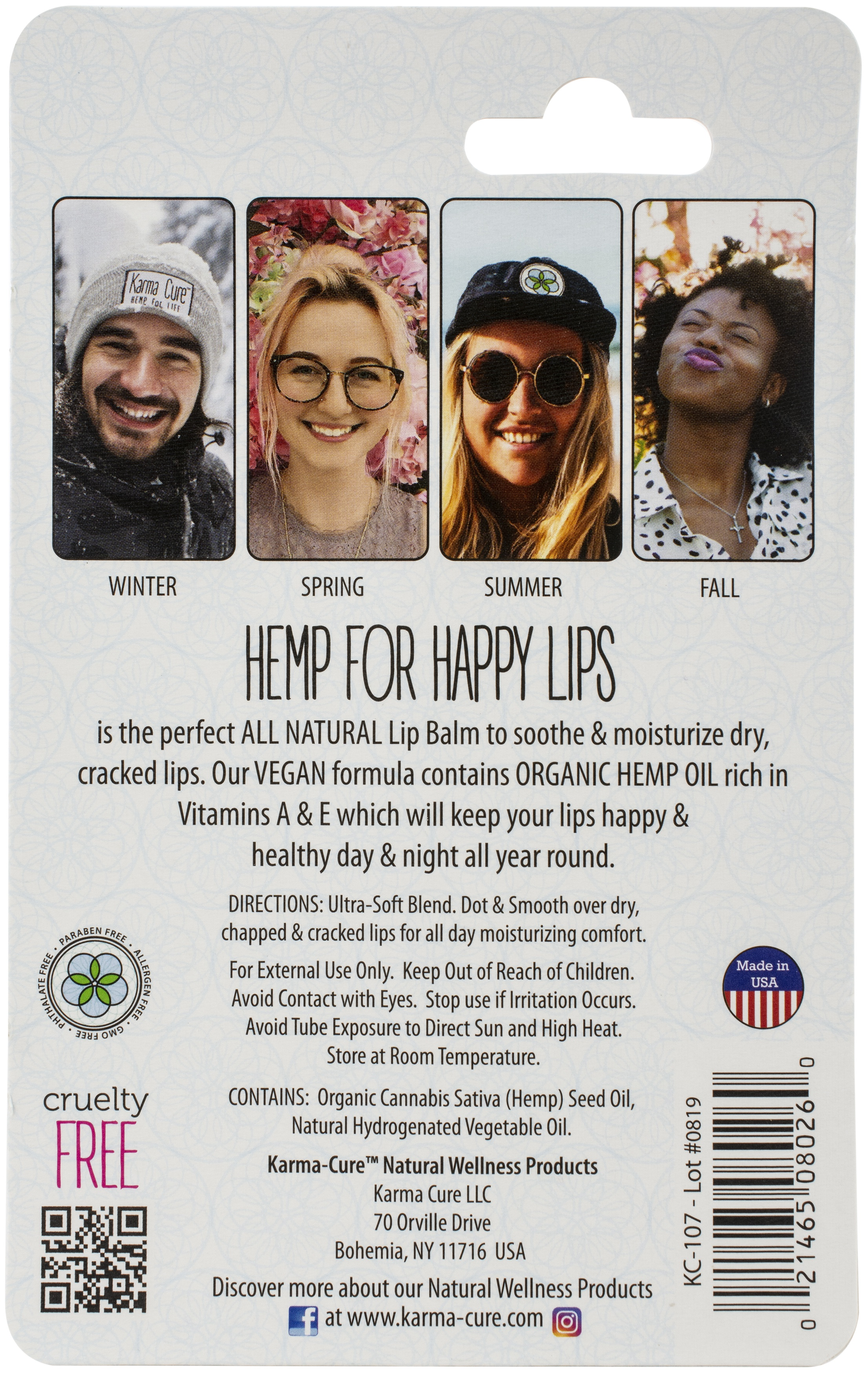 Karma-Cure Hemp For Lips-.35oz Tube