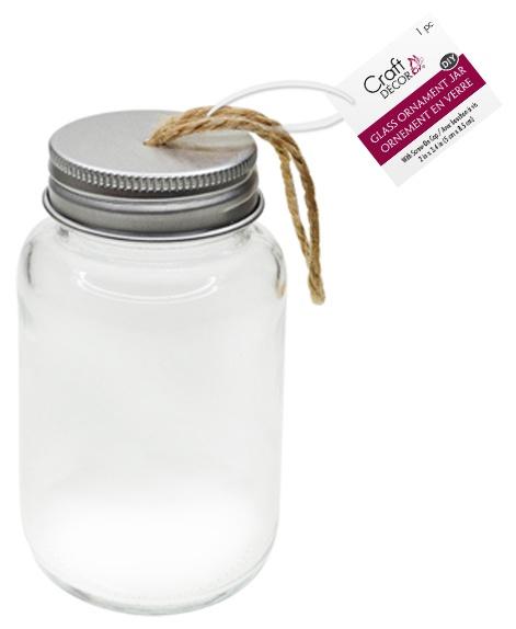 DIY Clear Ornament Glass Jar W/Aluminum Twist Cap 2x3.35-Empty