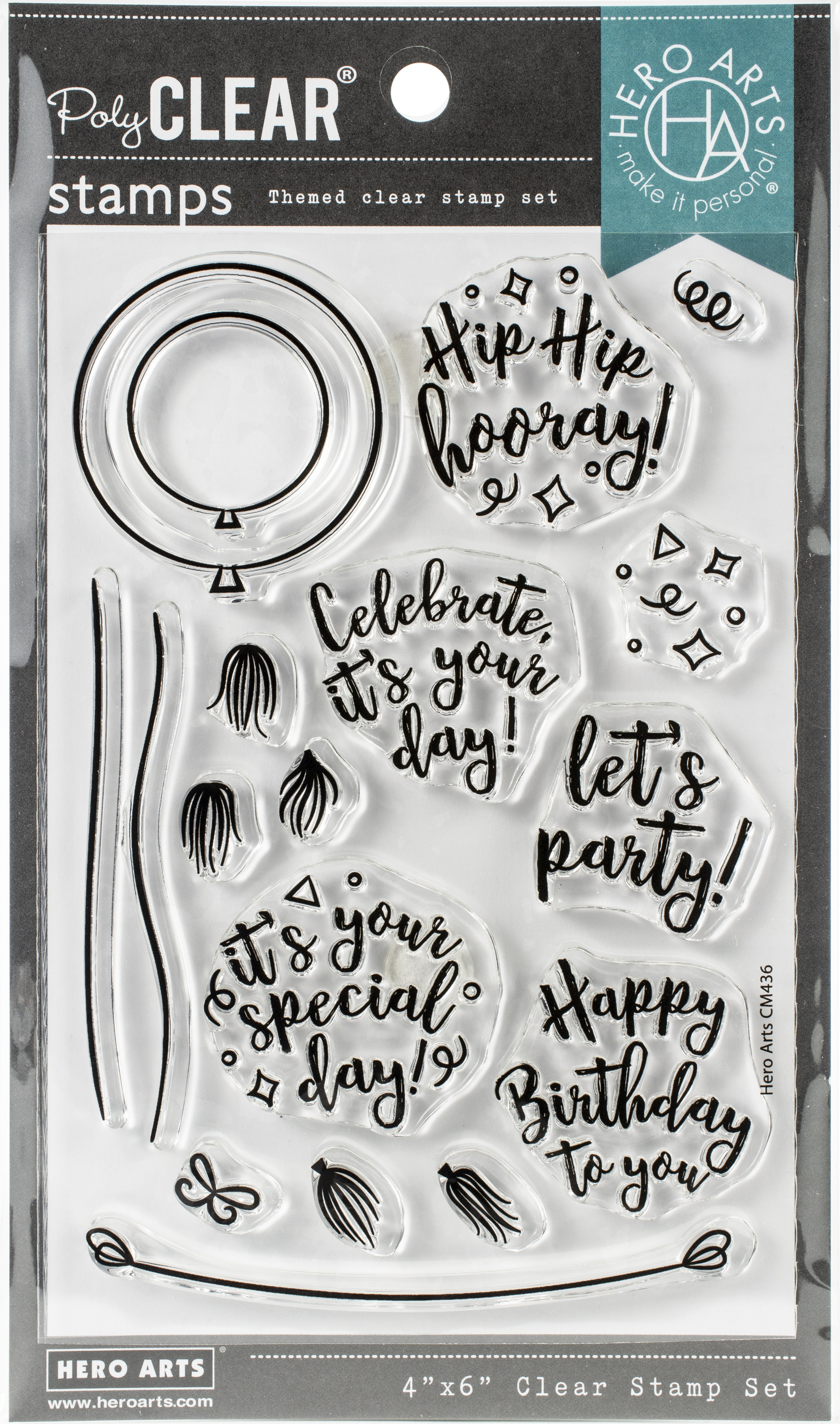 Hero Arts  Die and Clear Stamps 4X6-Festive Balloon