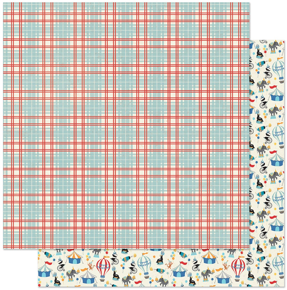 Hooray Double-Sided Cardstock 12X12-#5 Plaid