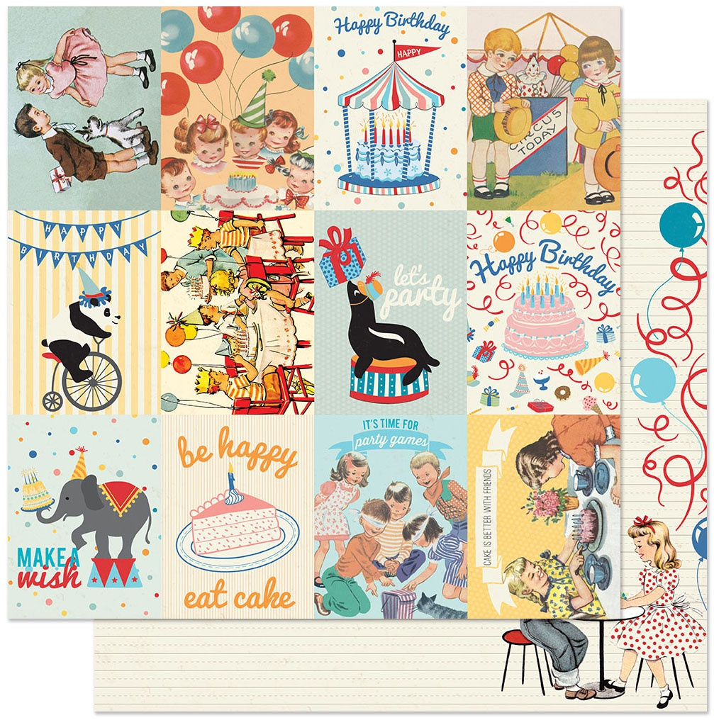 Hooray Double-Sided Cardstock 12X12-#7 3X4 Kids Cut-Aparts