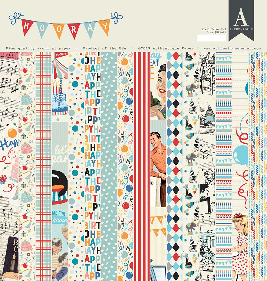 Authentique Double-Sided Cardstock Pad 12X12 18/Pkg-Hooray