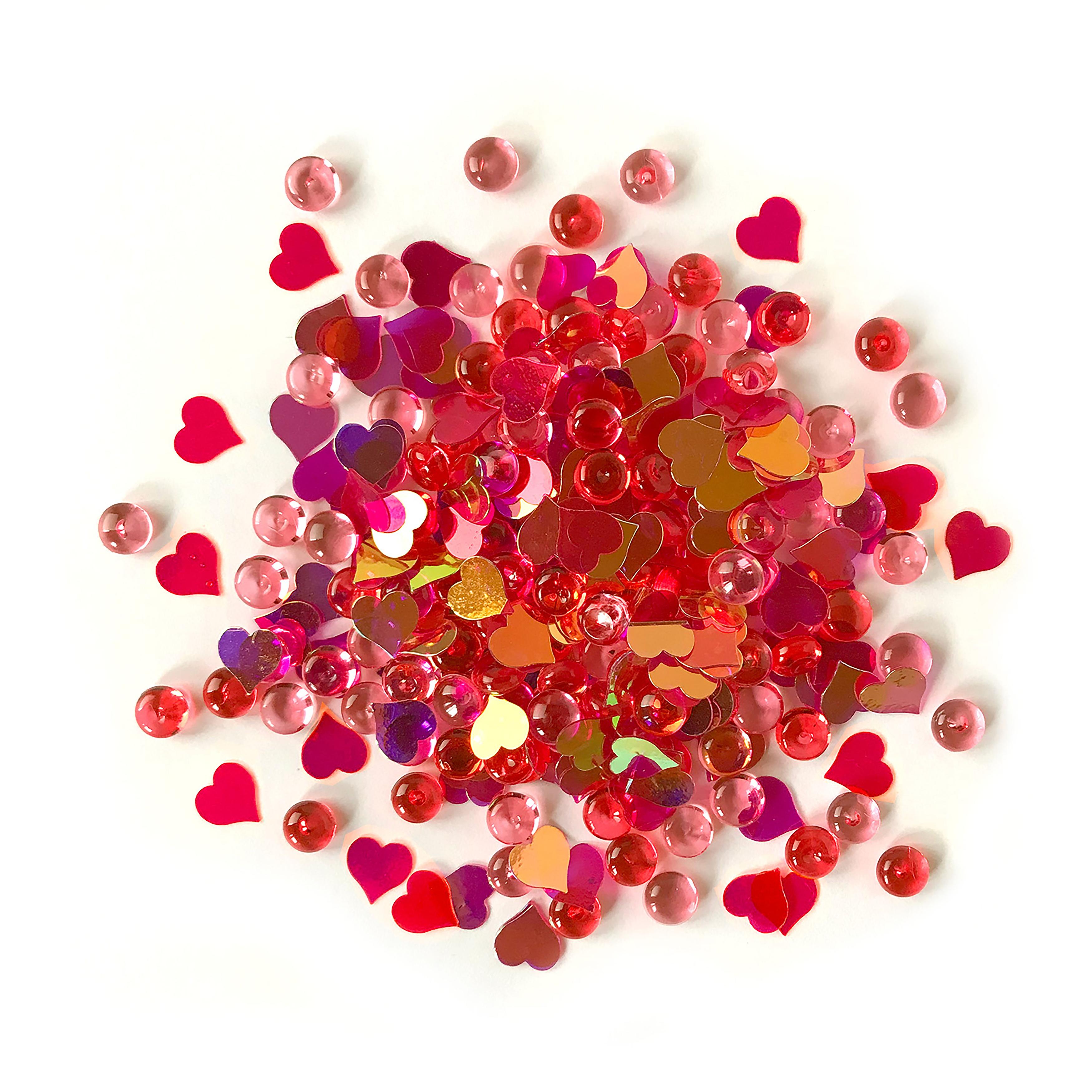 Buttons Galore Shimmerz Embellishments 18g-Heart Felt