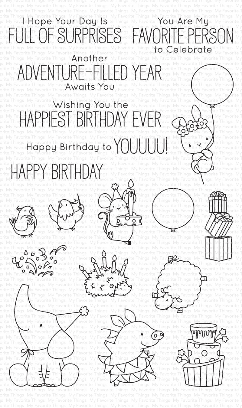 My Favorite Things Birdie Brown Stamps 5X8-Birthday Buds