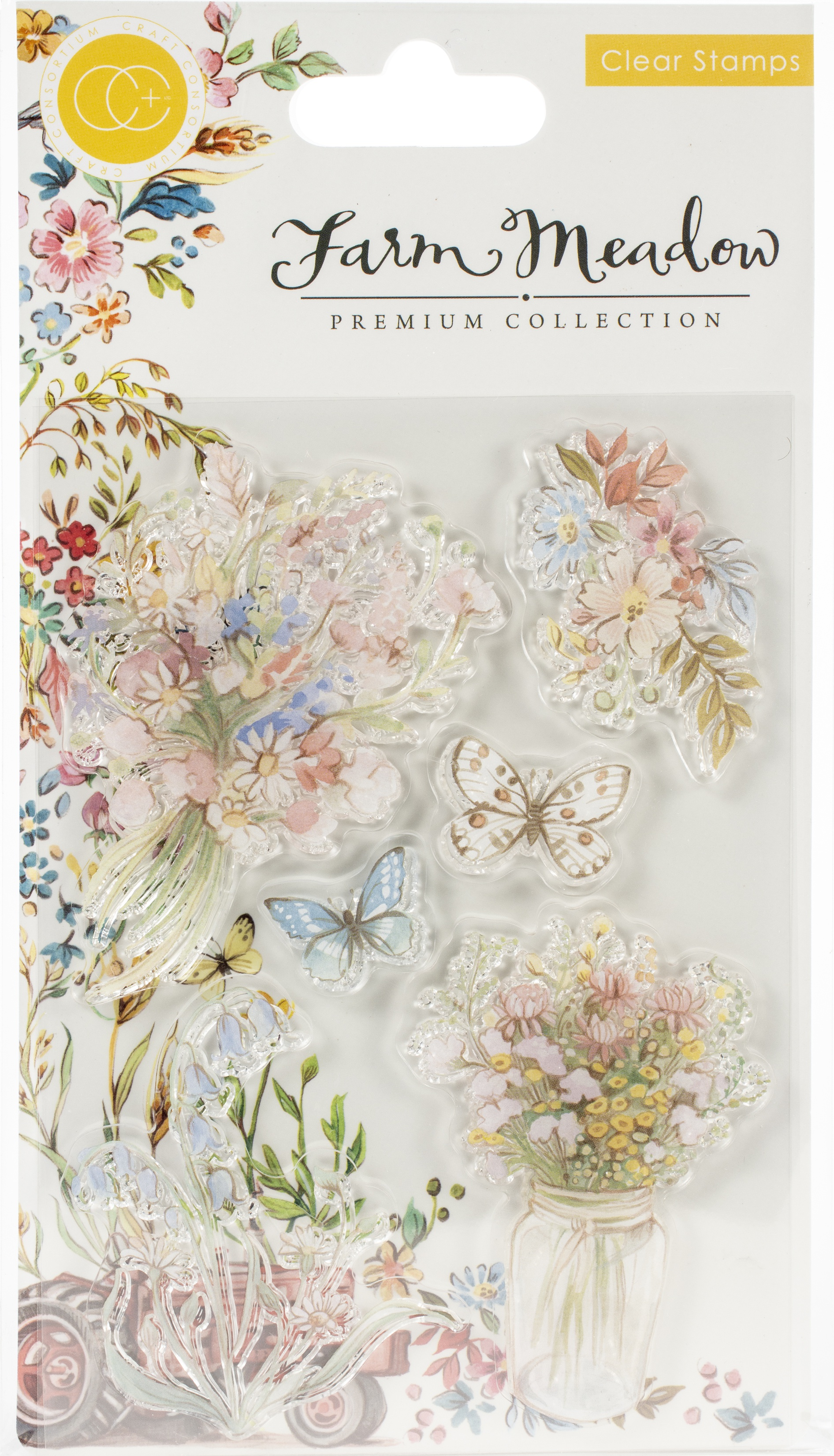 Craft Consortium A5 Clear Stamps-Florals By Clare Therese Gray