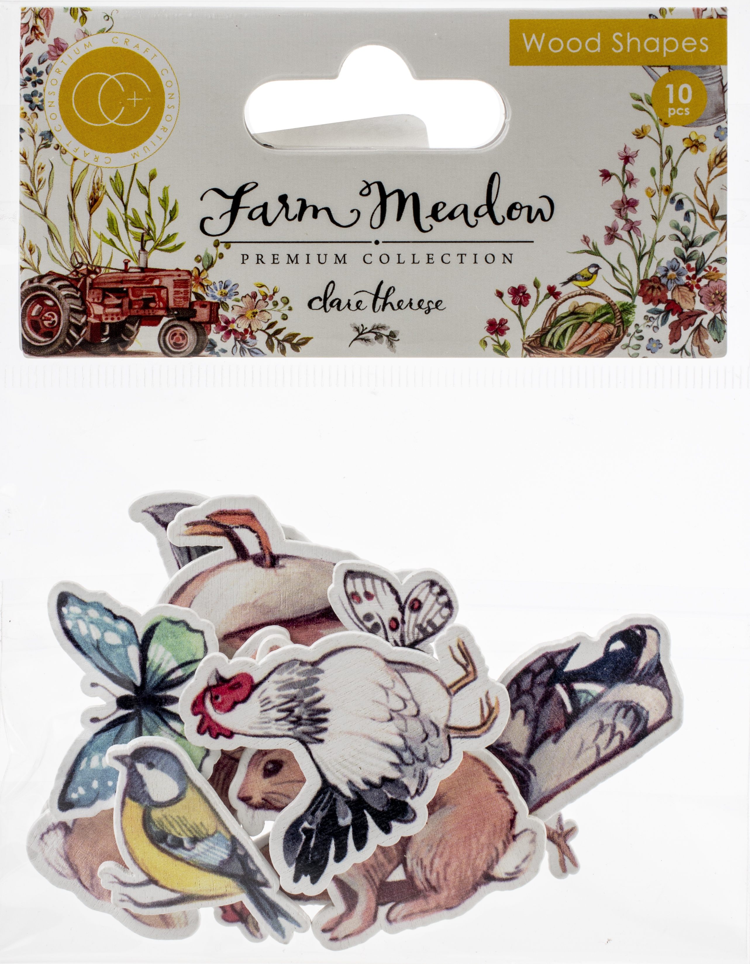 Craft Consortium Laser-Cut Wooden Shapes 10/Pkg-Animals By Clare Therese Gray